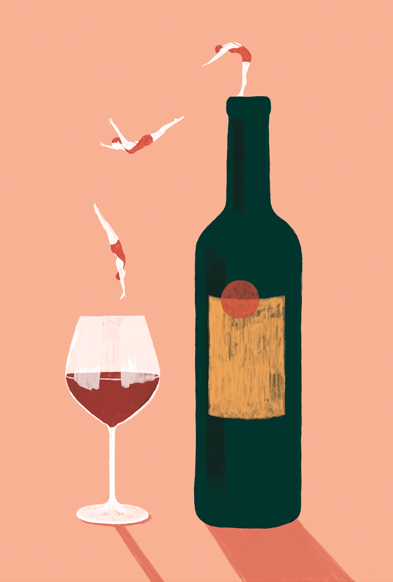 Digital illustration of three women diving in a bottle of wine