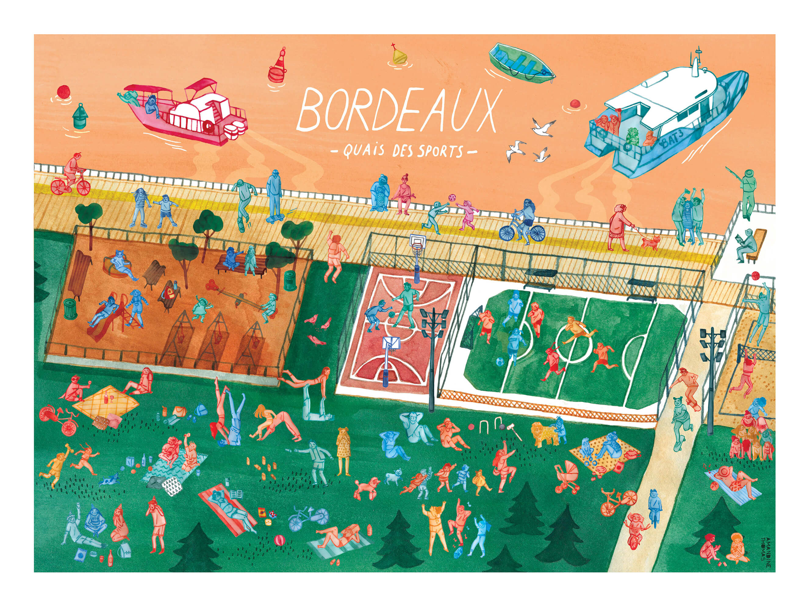 Illustration of the very animated Quais des Sports in Bordeaux