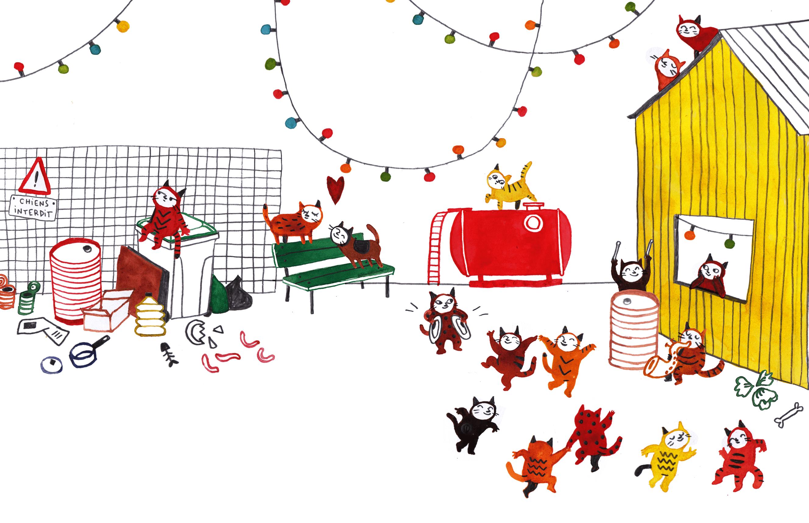Kids' book illustration of cats dancing