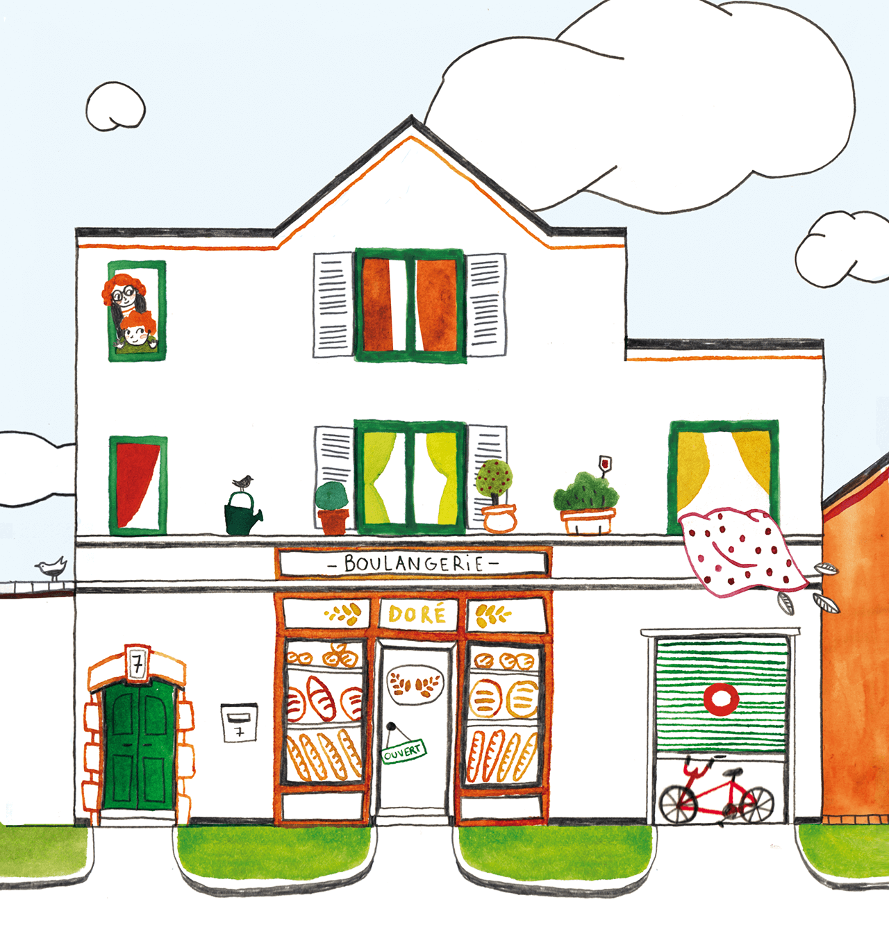Kid's book illustration of a bakery's facade