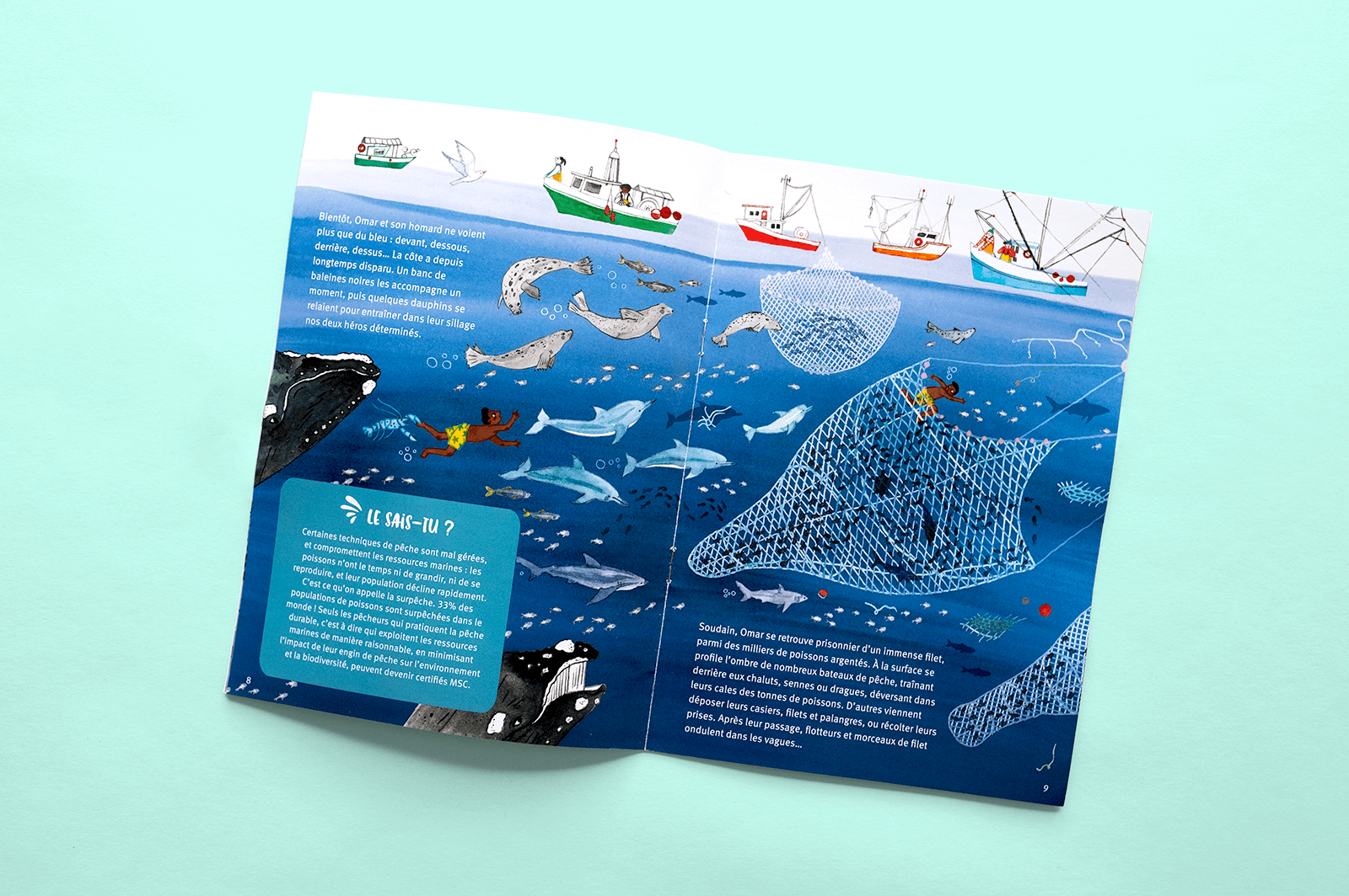 Kids' book open on an illustration of overfishing