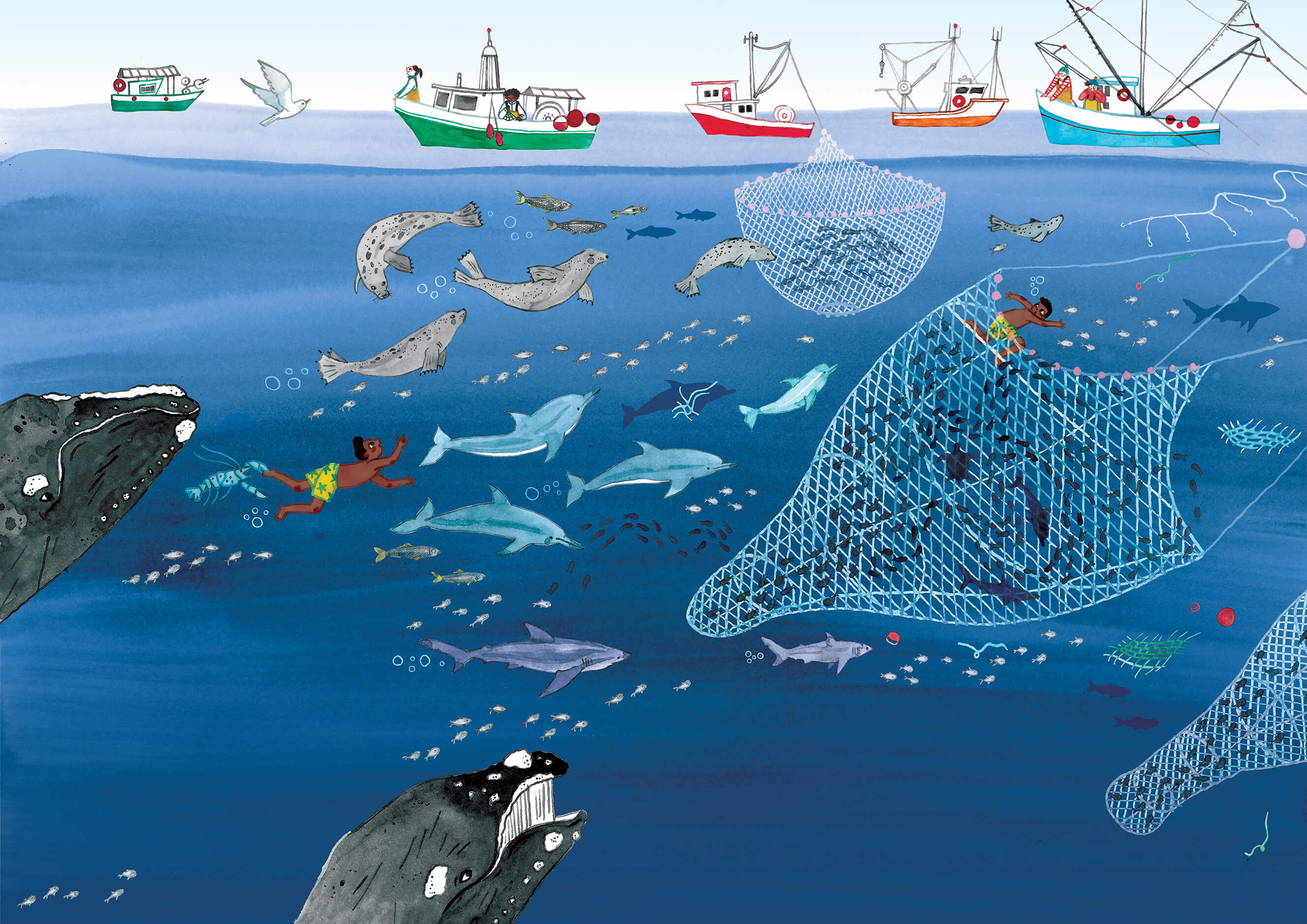 Editorial illustration of overfishing