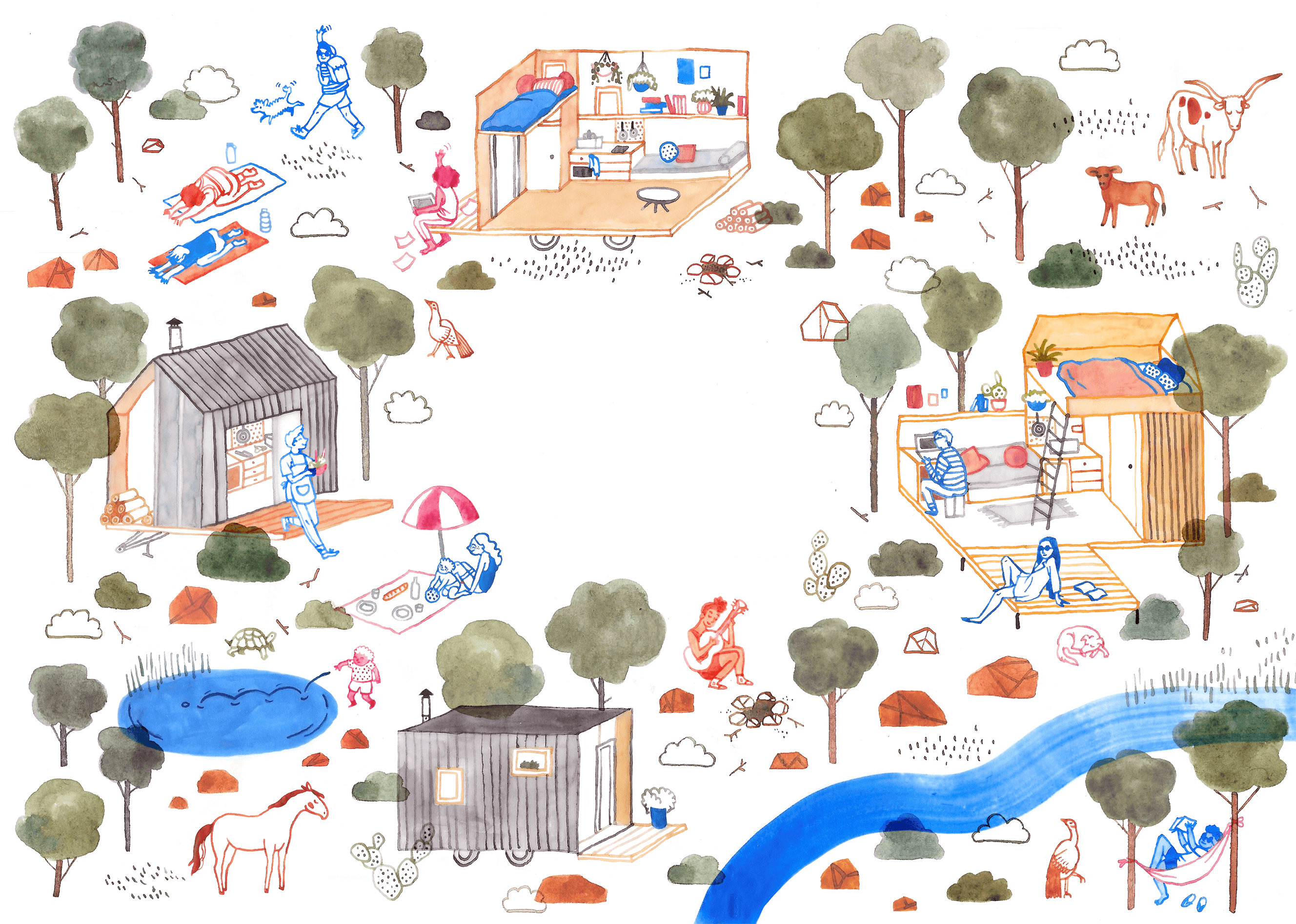 Illustration of little cabins set in nature