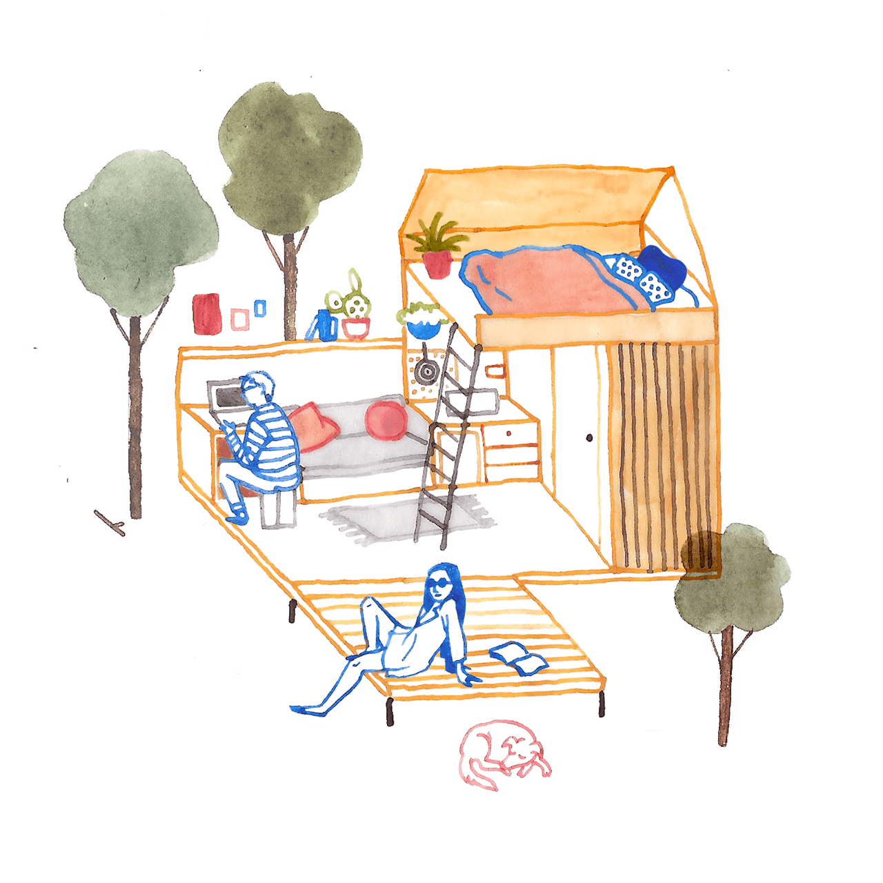 Illustration of people working in a cabin