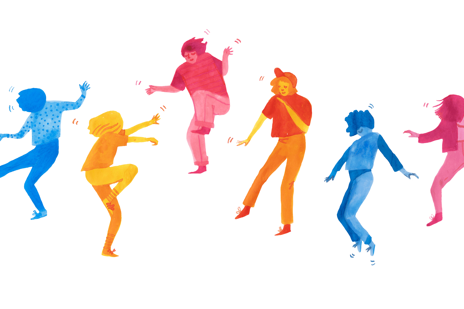 Illustrated characters dancing