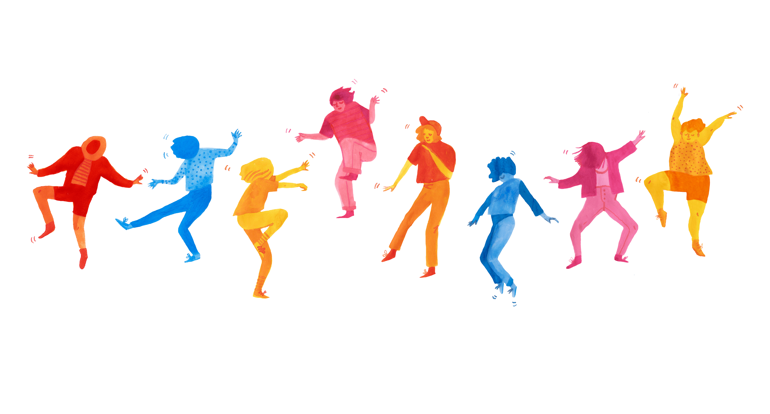 Illustration of colourful characters dancing