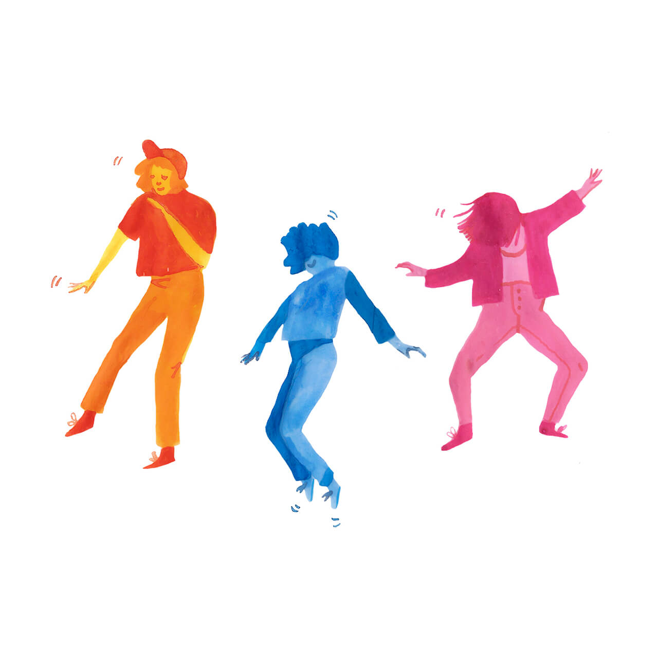 Three illustrated characters dancing