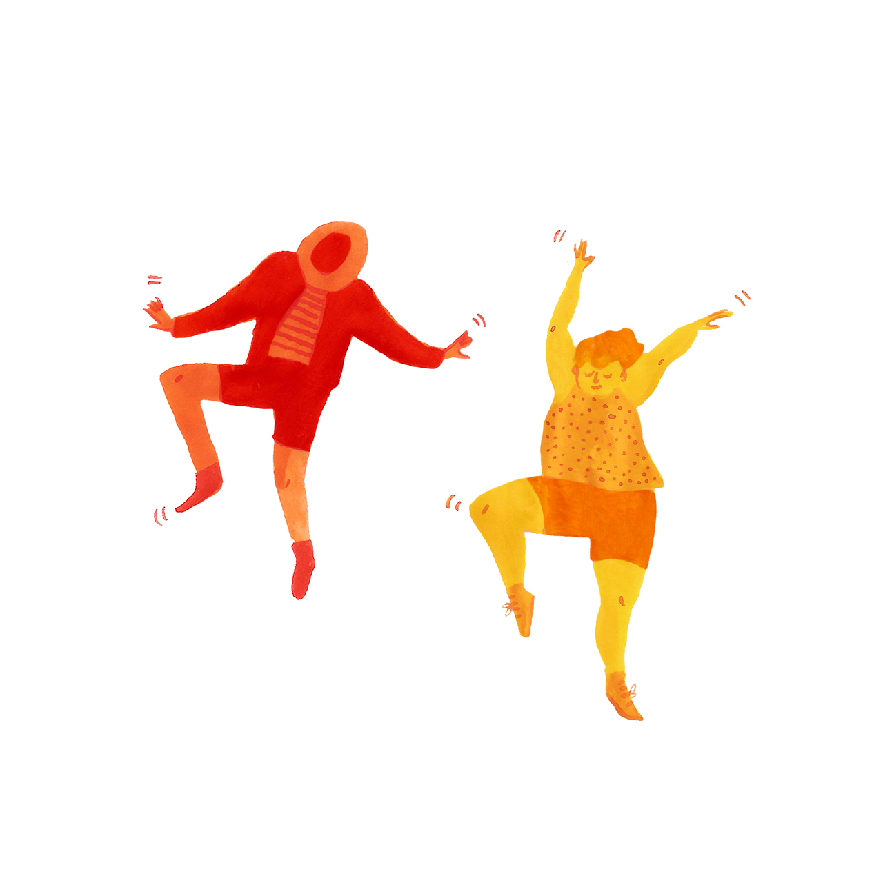 Two illustrated characters dancing