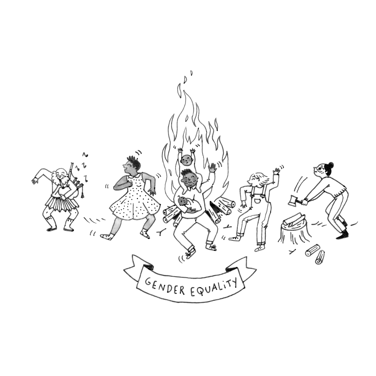Illustration of a group of diverse people dancing around a campfire