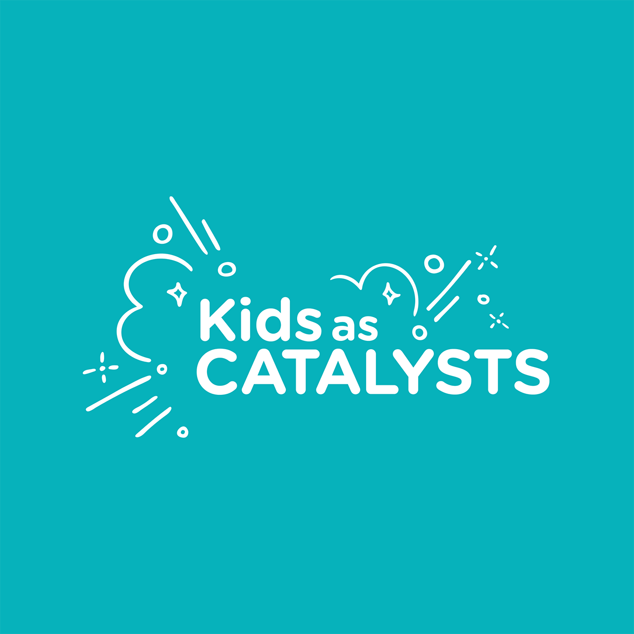 Kids as catalysts logo on a blue background