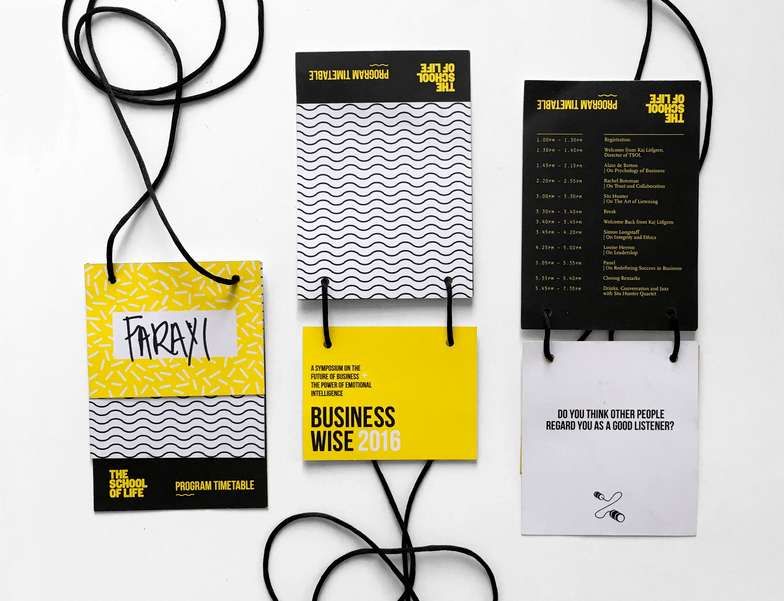 Graphic design of the lanyards for Business Wise conference