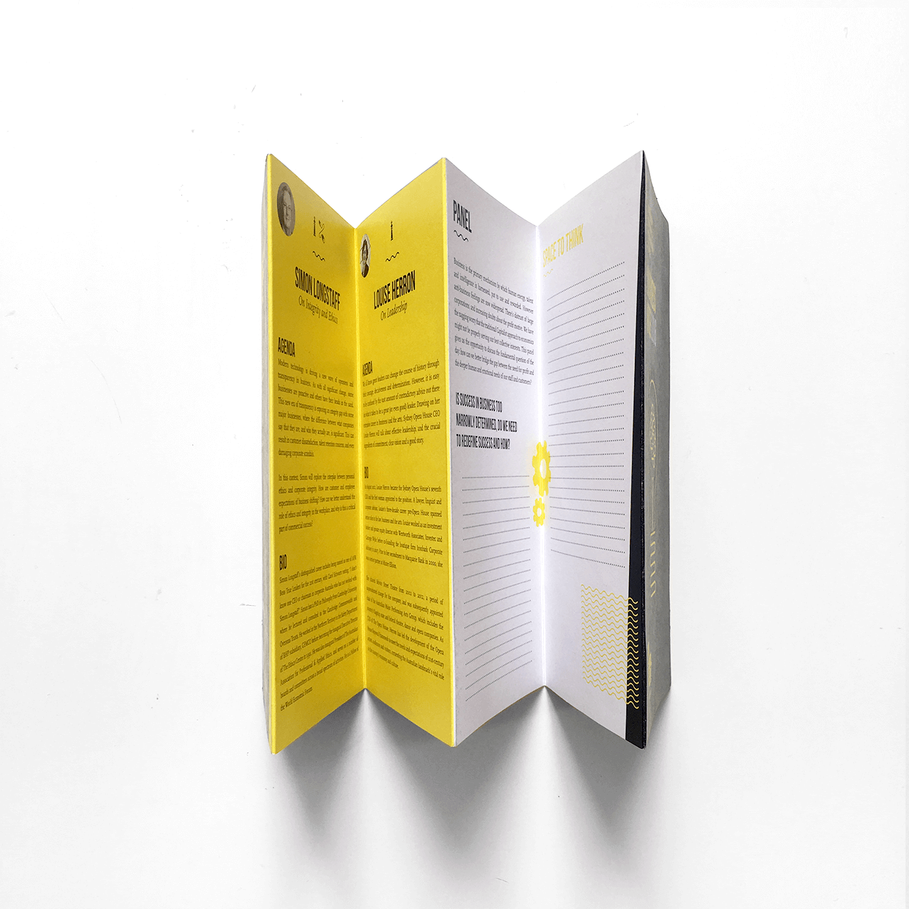Graphic design for the Business Wise conference program