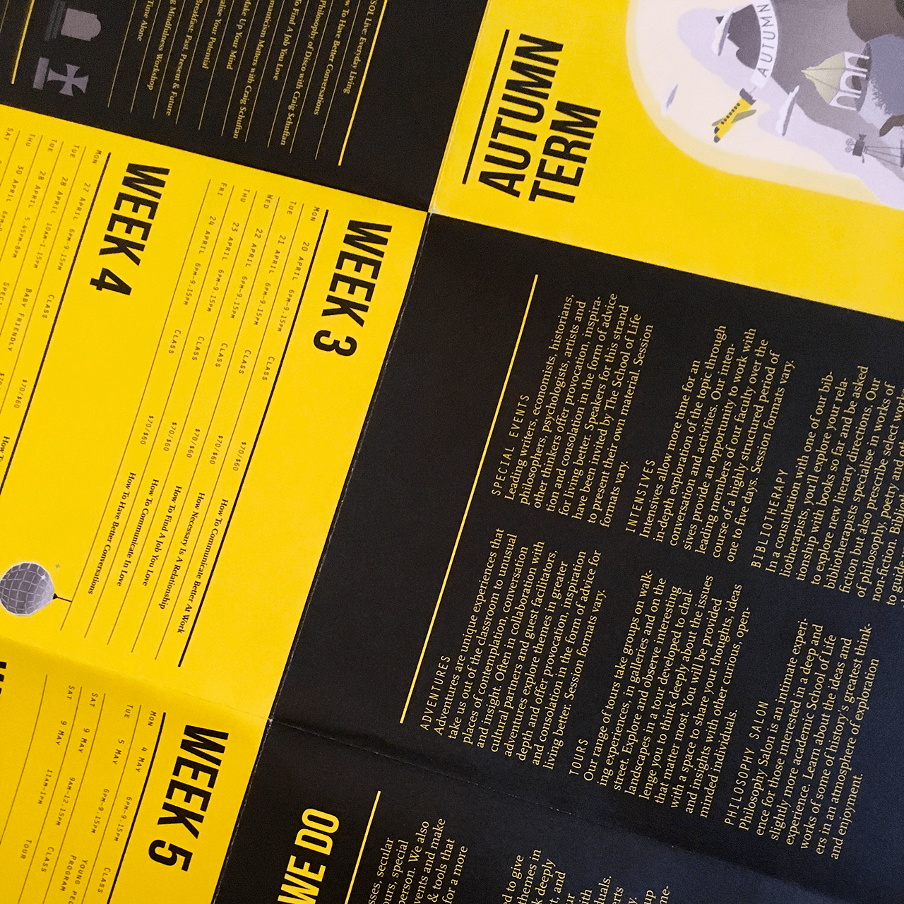 Graphic design for the autumn term program of The School of Life