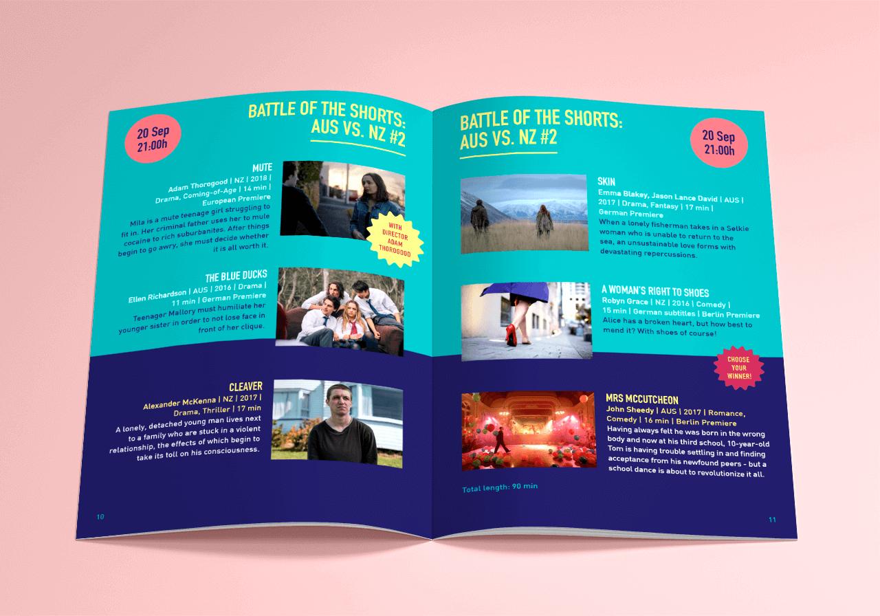 Graphic design for the program of Down Under Berlin film festival