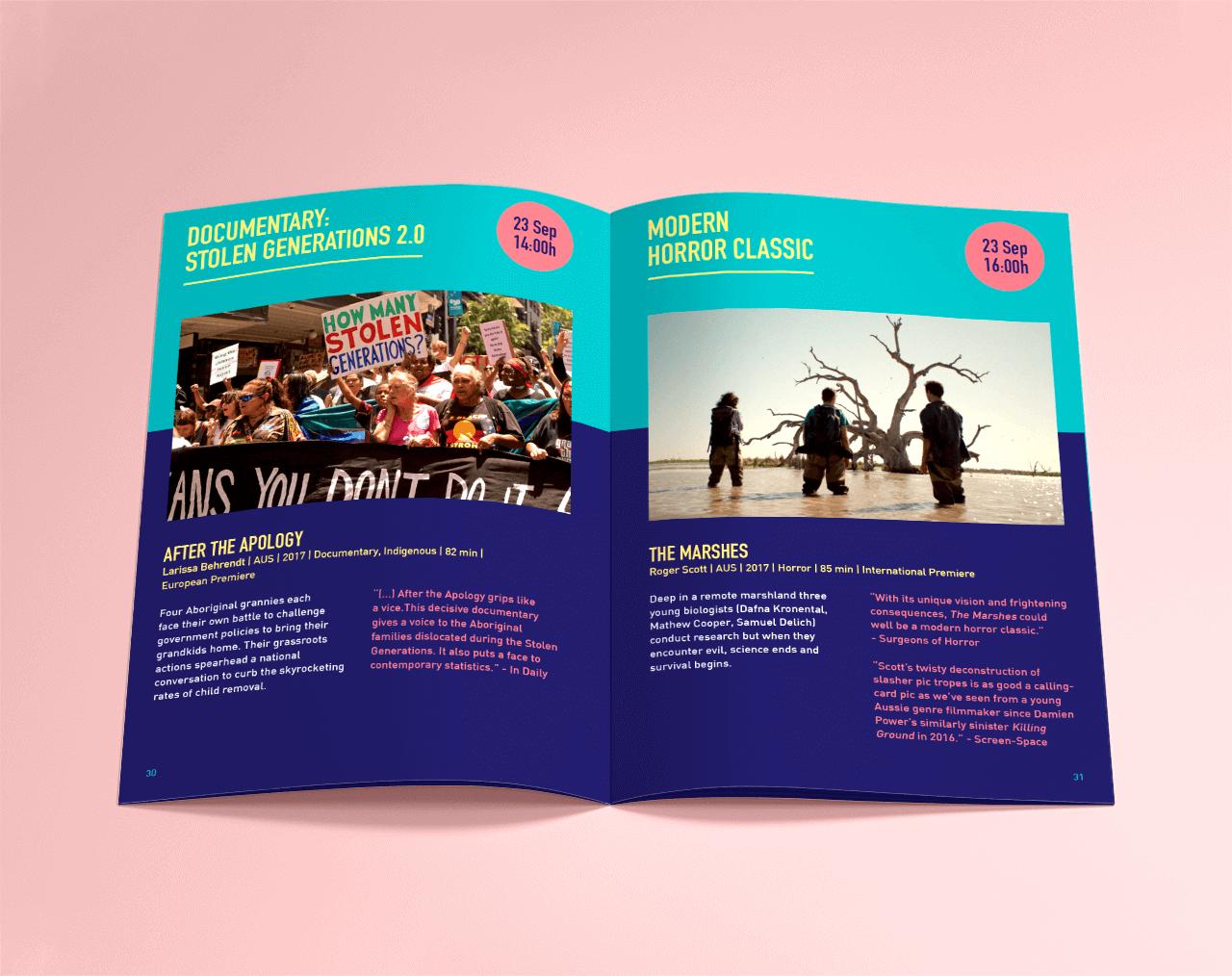 Graphic design for the program of the Down Under Berlin film festival