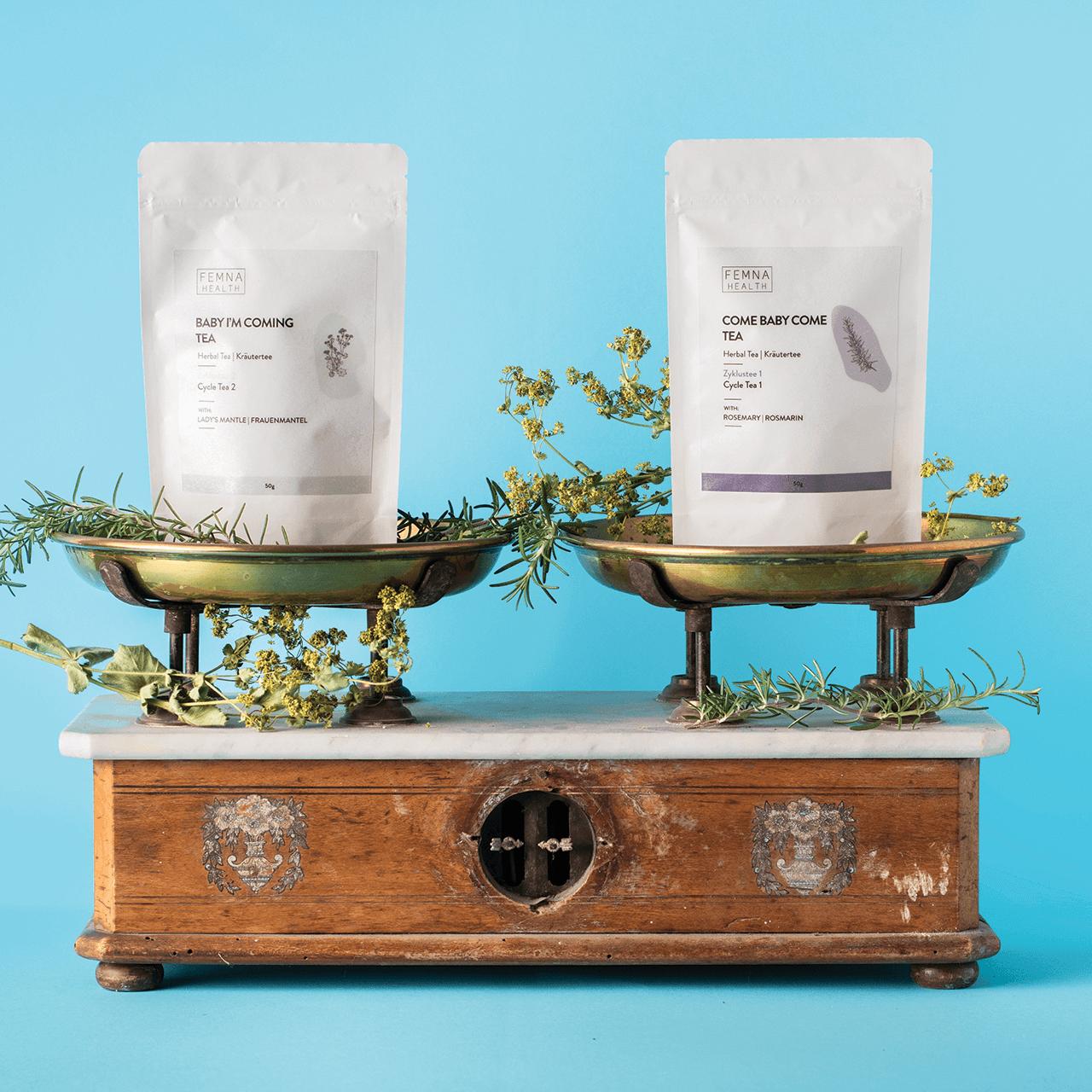 Packaging for Femna's herbal teas