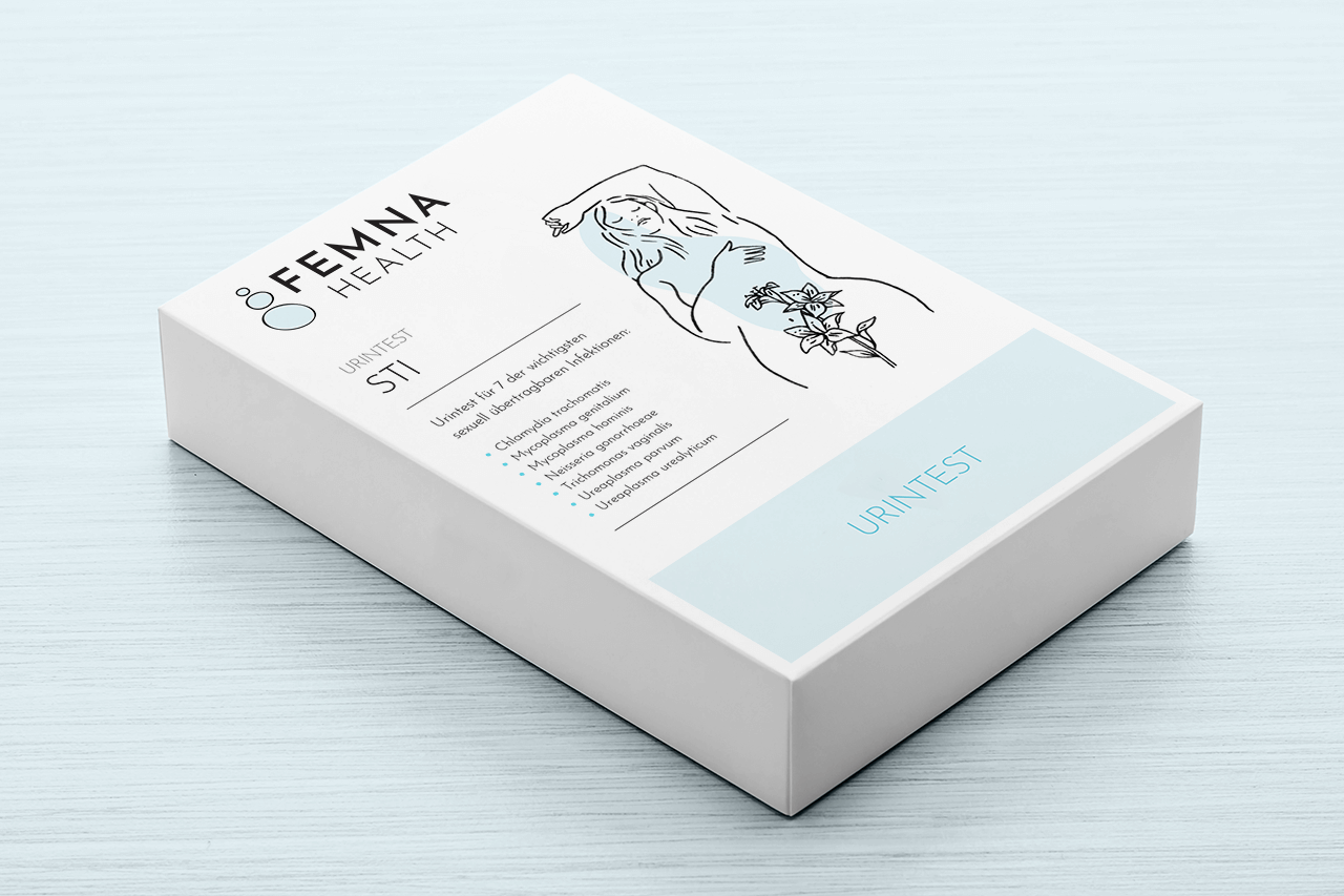 Packaging design for Femna's STI test kit