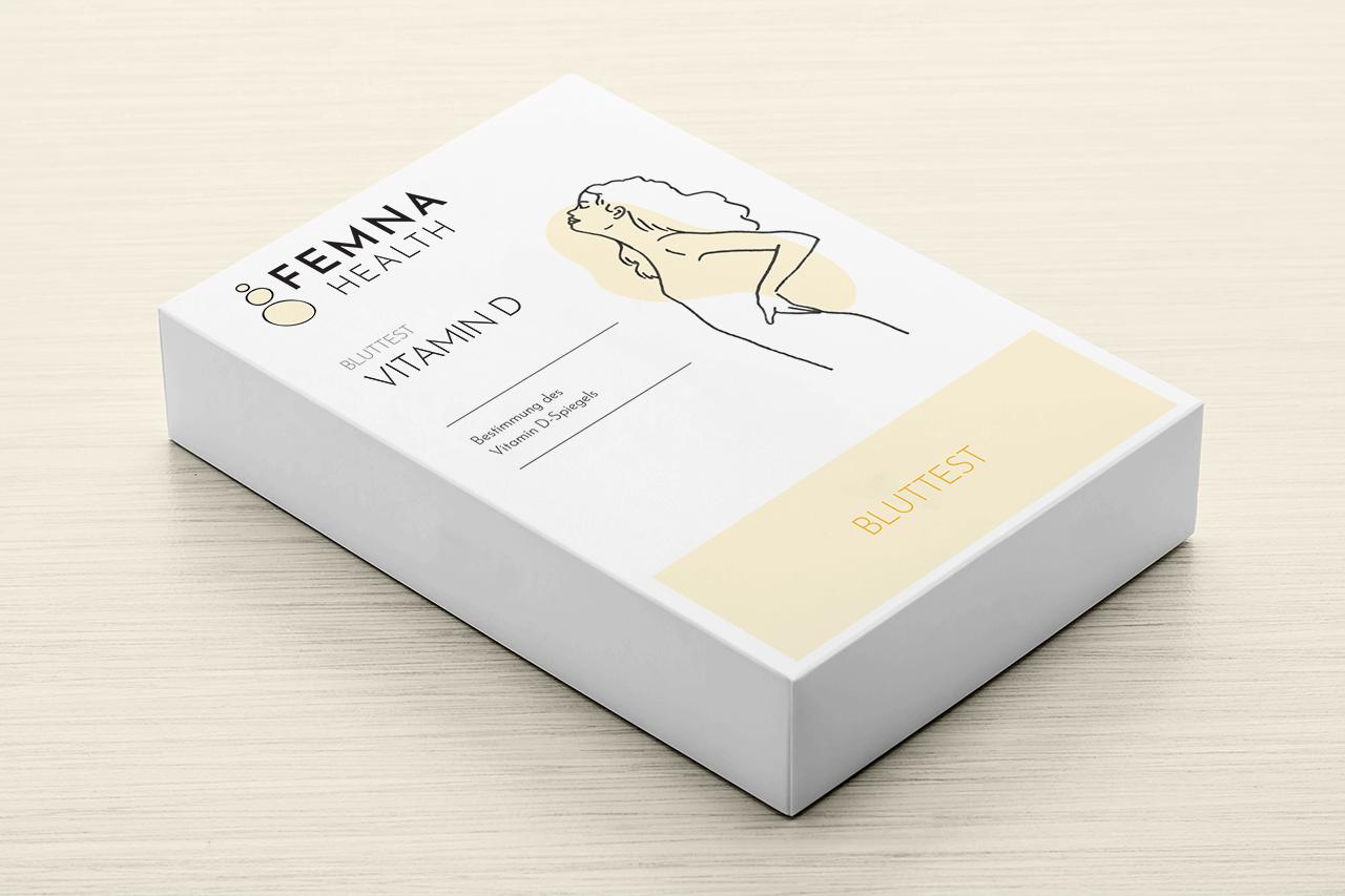 Packaging design for Femna's vitamin D test kit