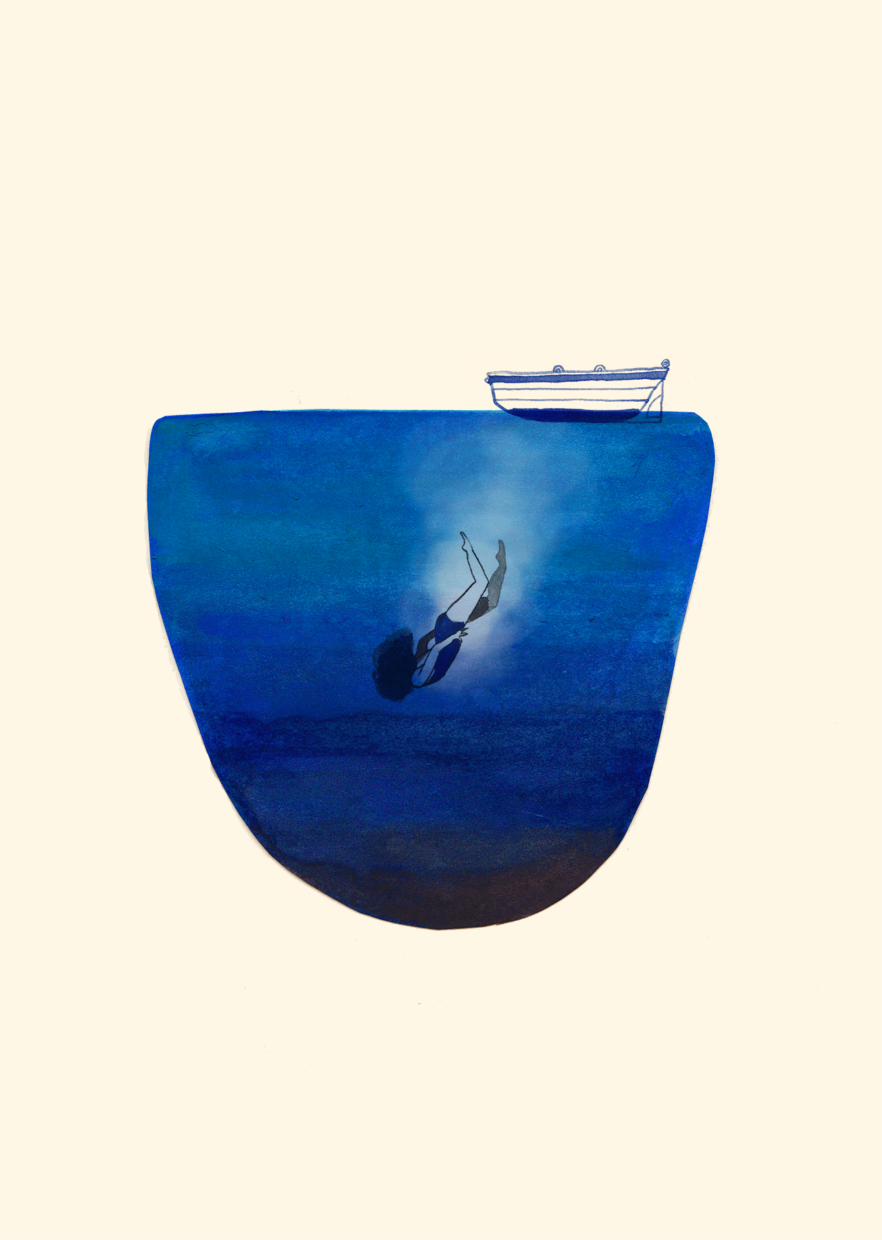 Editorial illustration of a woman diving