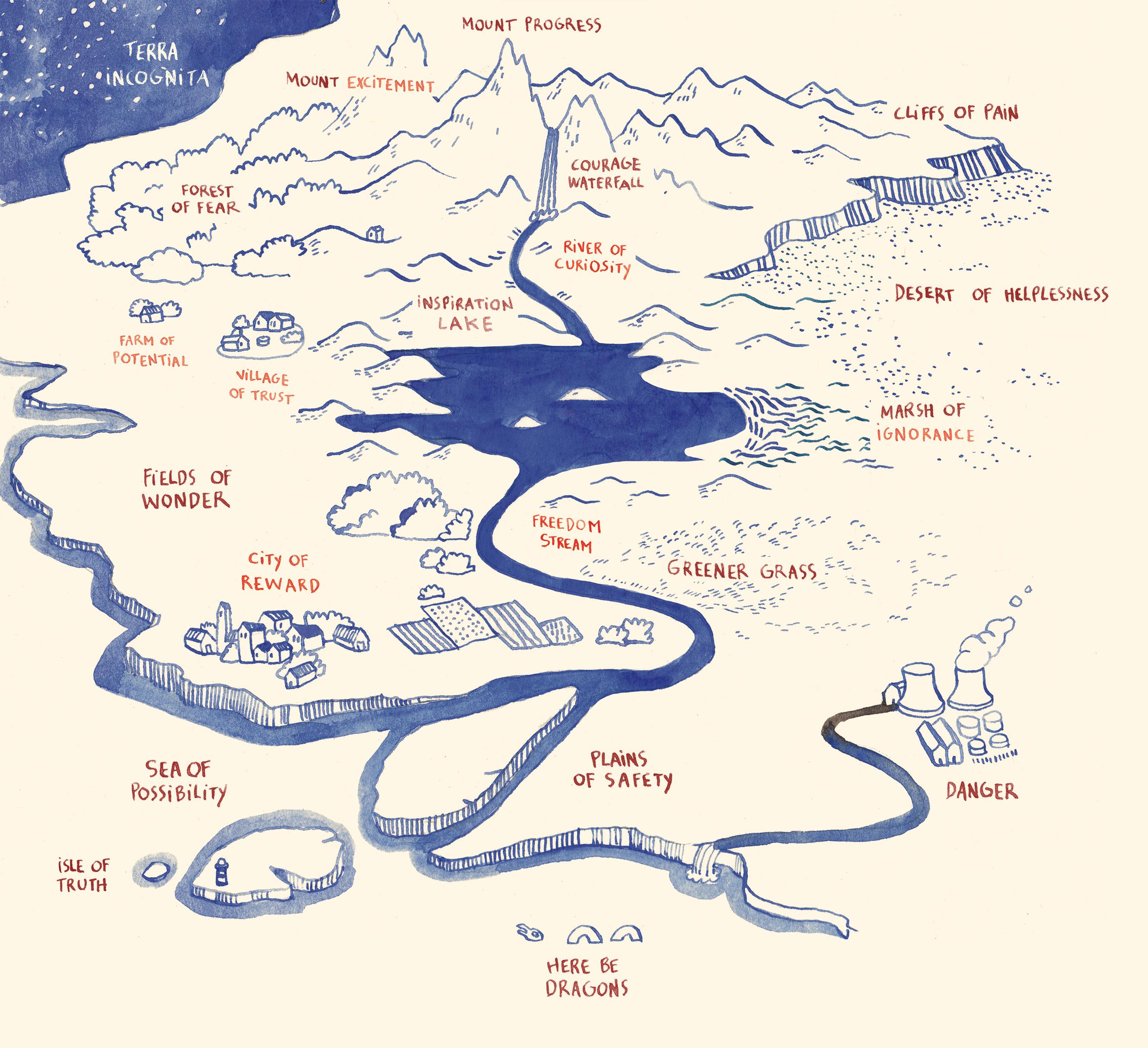 Carte illustrée de l'inconnu