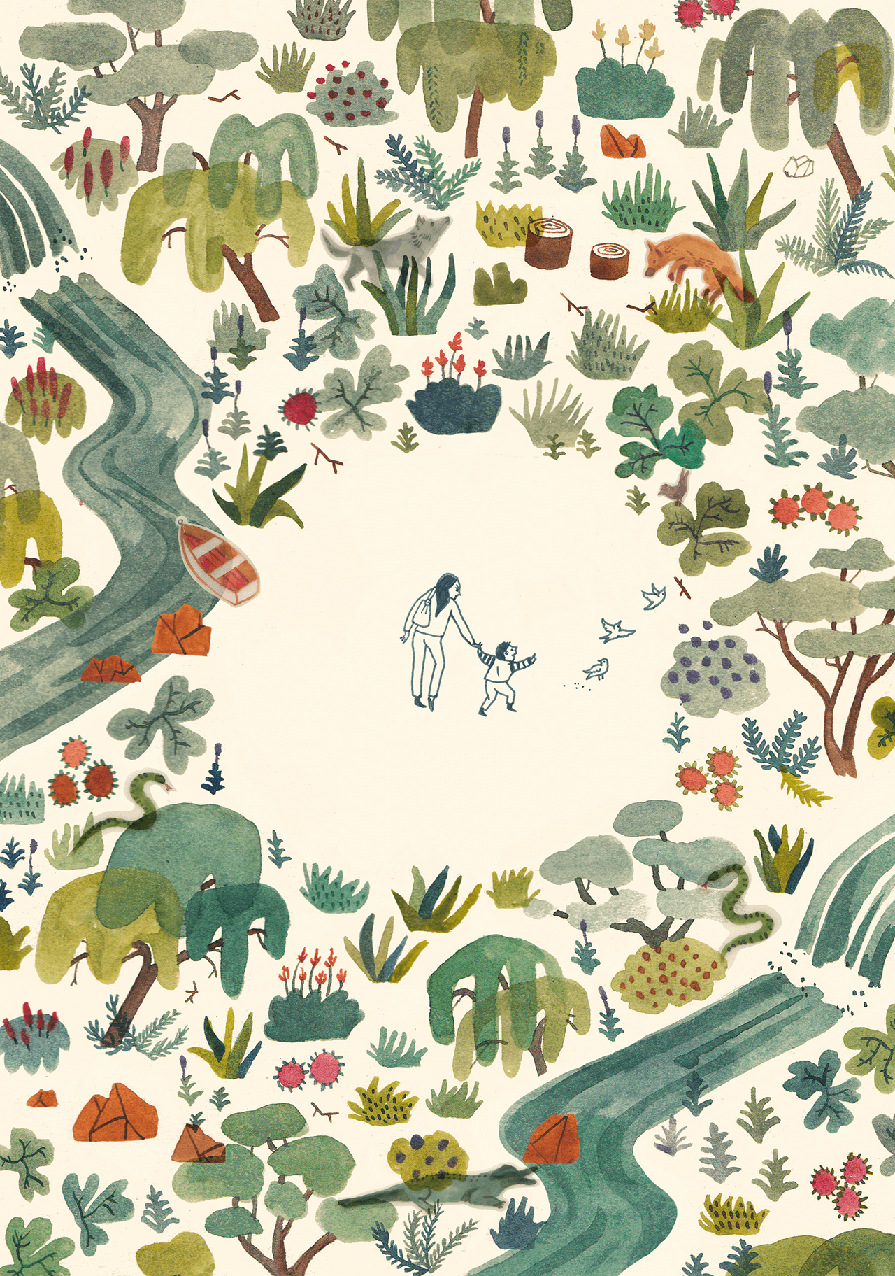 Editorial illustration of a woman and child in a forest