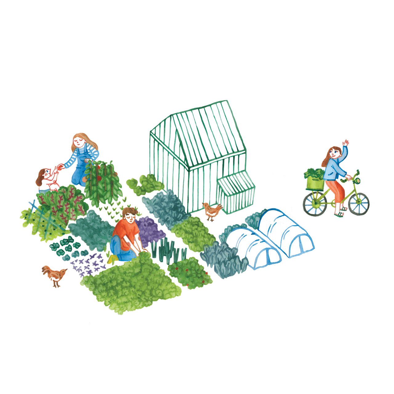 Editorial illustration of people gardening