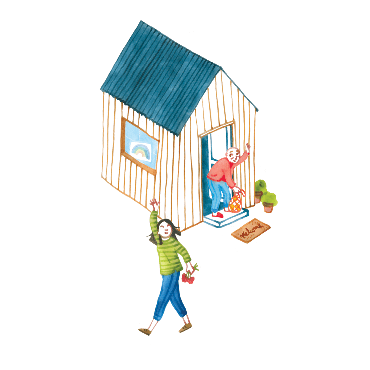 Editorial illustration of a woman helping an elderly neighbour