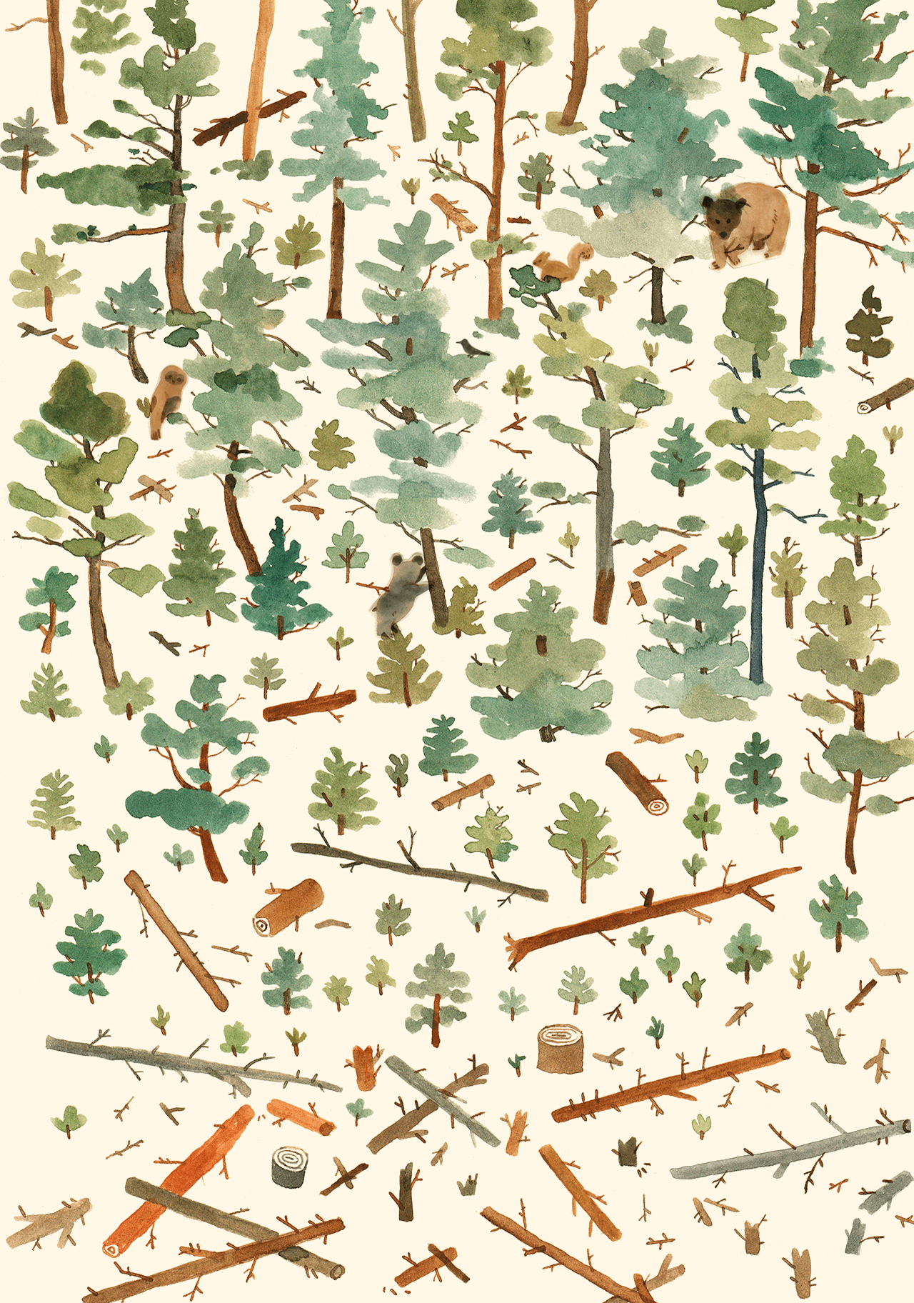Editorial illustration of a forest with bears