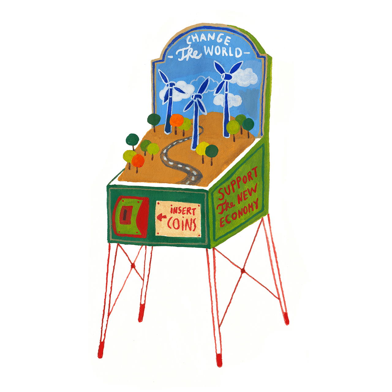 Editorial illustration of a pinball machine powering wind turbine