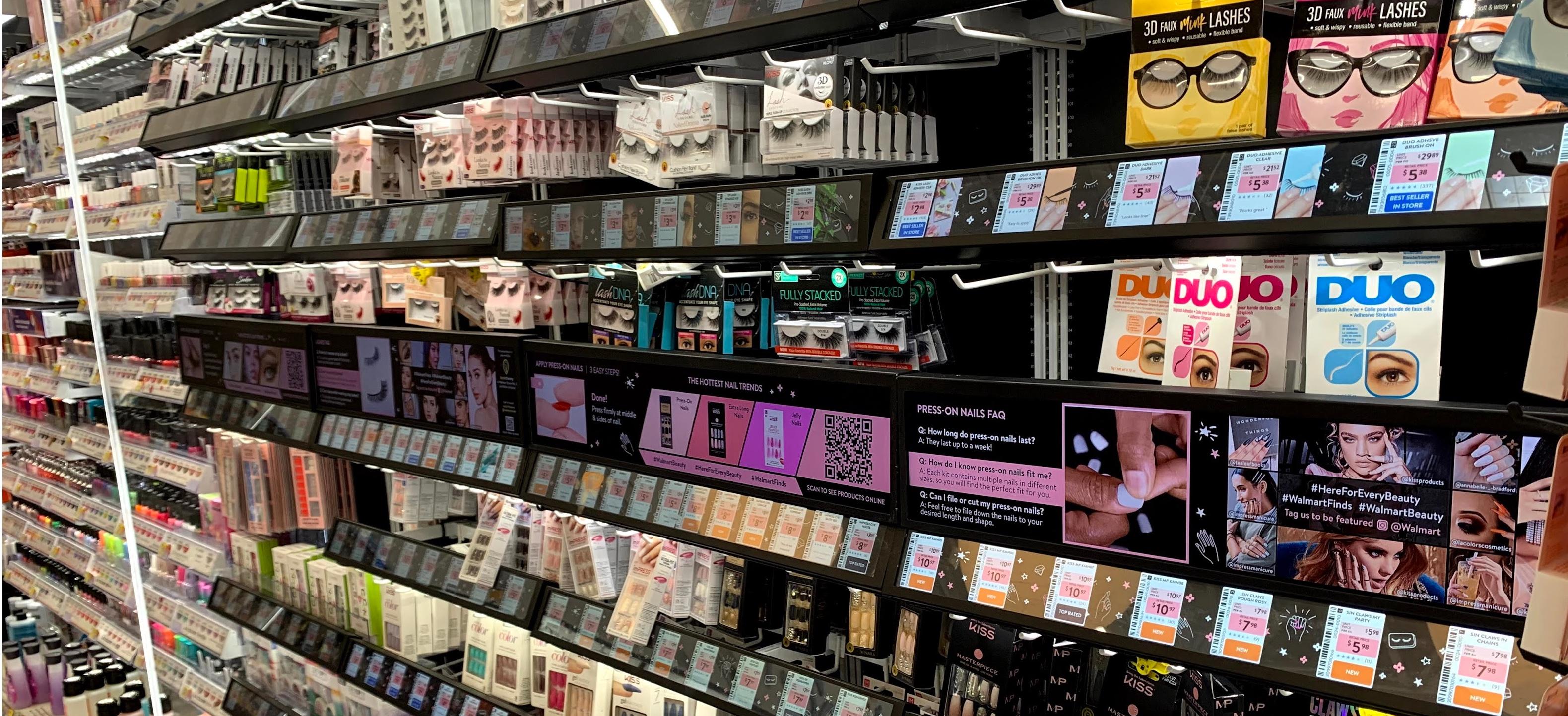 digital shelf labels at Walmart in the beauty aisle