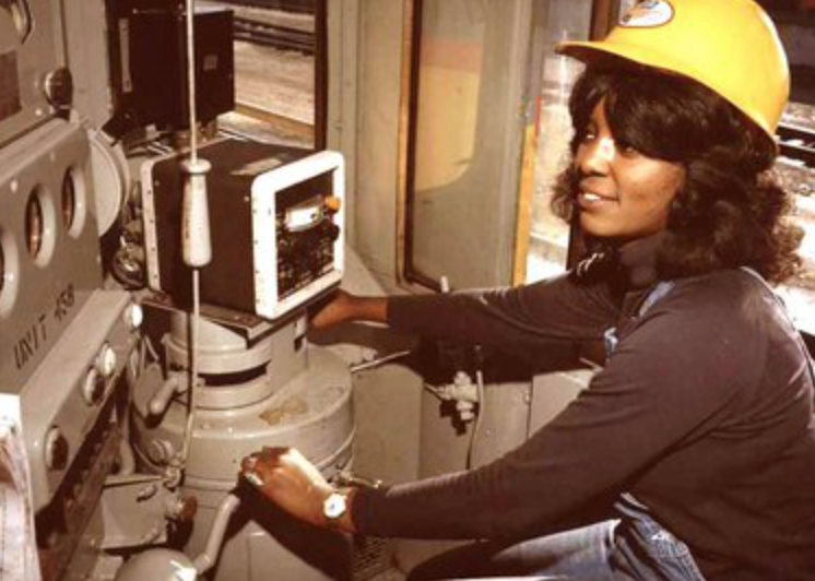 """Edwina Justus, aka """"Curlie"""" battled racism and sexism and hustled her way from yard hostler to becoming the first black woman locomotive engineer for the Union Pacific Railroad"""