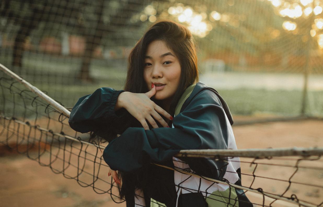 BIPOC Asian woman wearing streetwear fashion