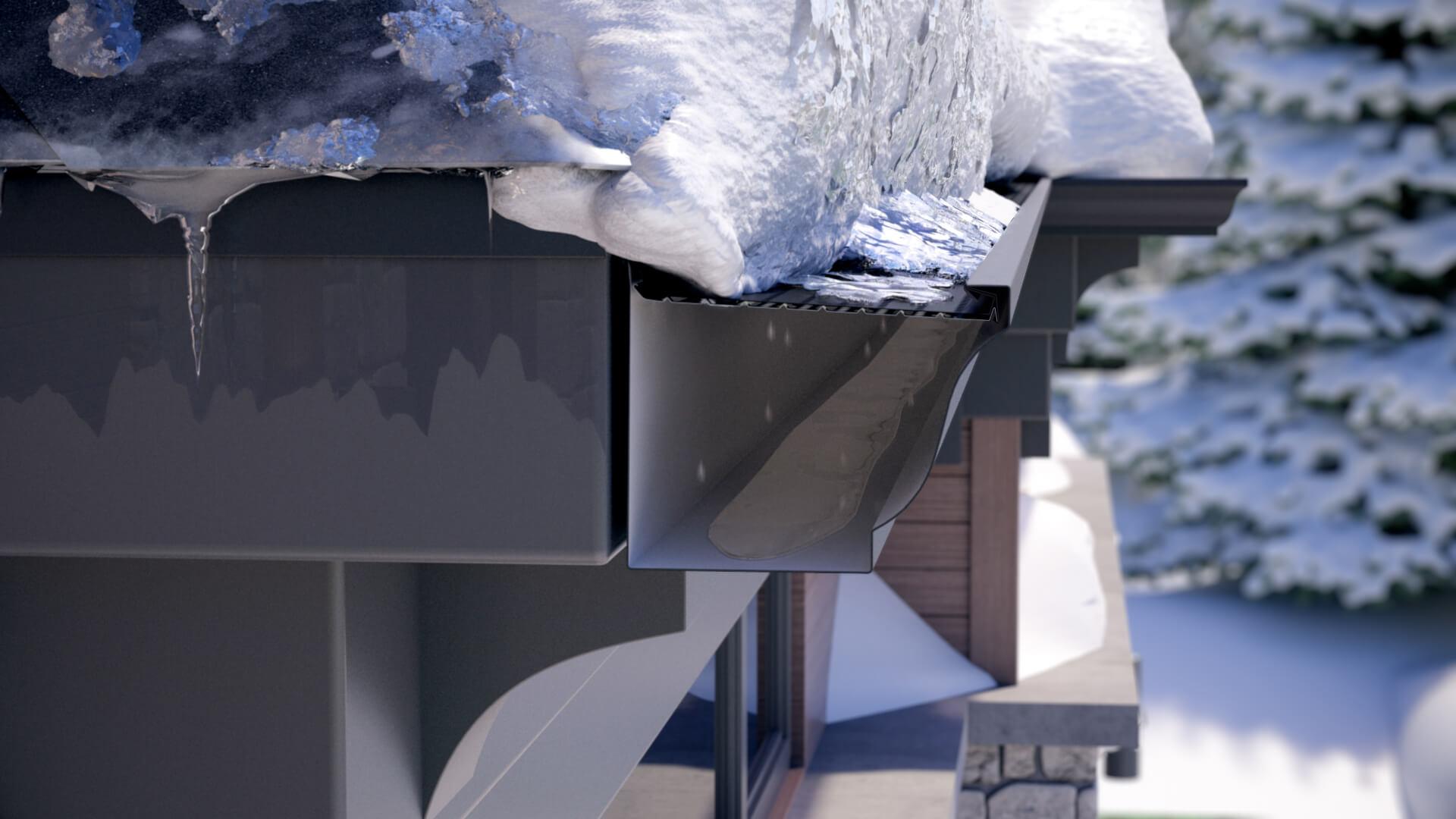 Protège-gouttière Alurex Double Pro bloquant la neige et la glace accumulées sur le toit
