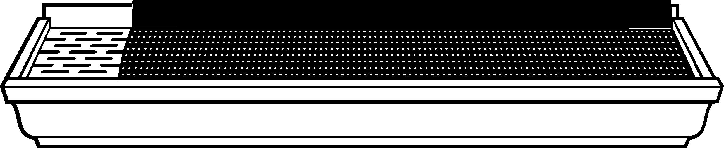 Illustration vue de l'avant du protège-gouttière pour gouttière neuve Alurex Double Pro