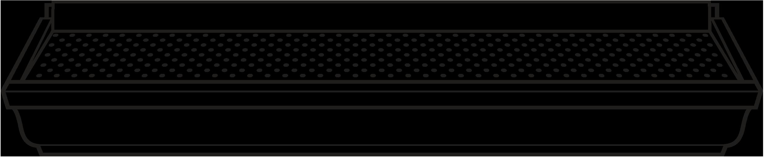 Illustration vue de l'avant d'un protège-gouttière pour gouttière neuve Alurex T Rex