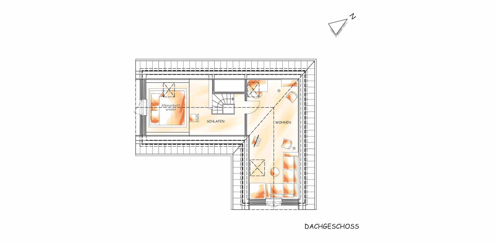 Querschnitt des Obergeschosses