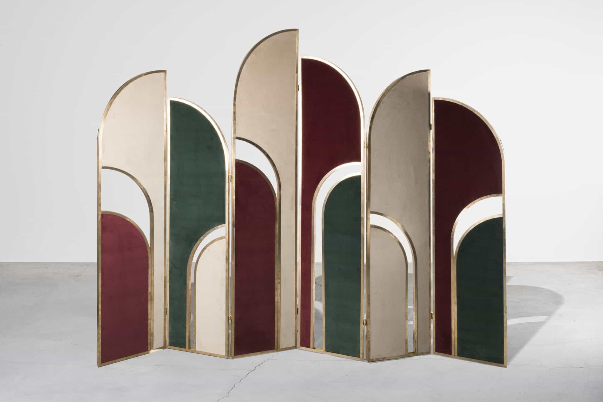 Room divider with brass frame and velvet upholstery by Marsica Fossati for Nilufar Gallery