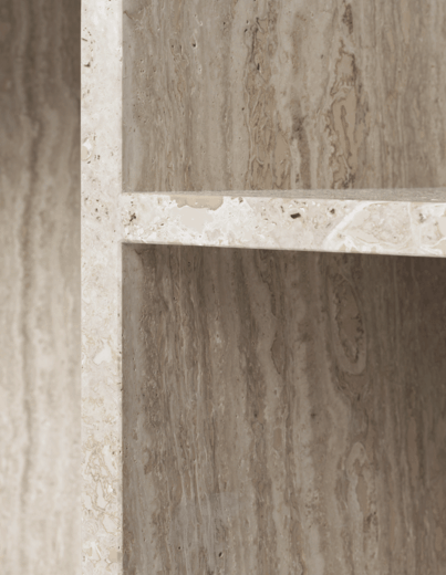 Detail of the travertine stone of fermLiving's Distinct coffee table