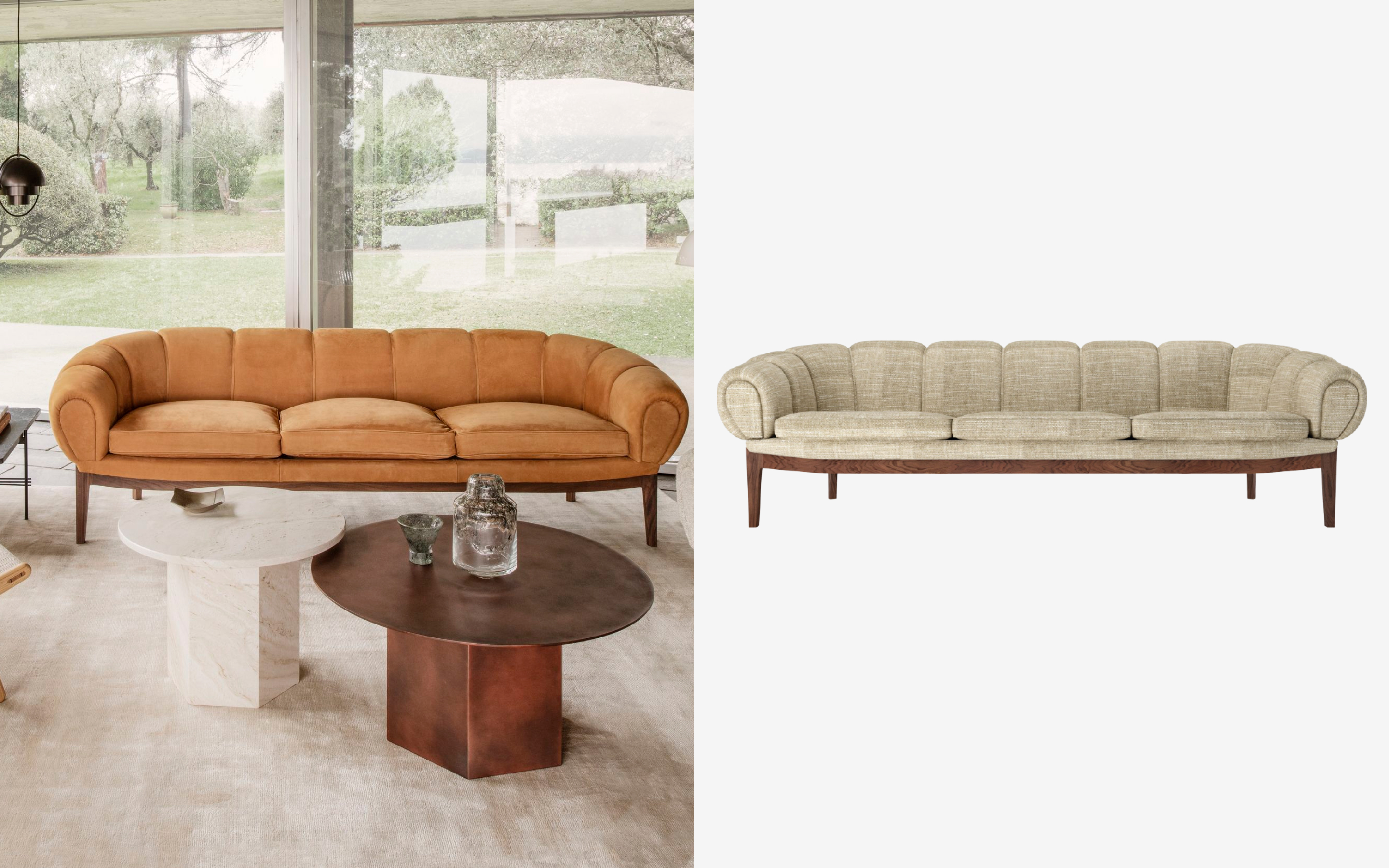 Croissant-shaped leather sofa by Gubi