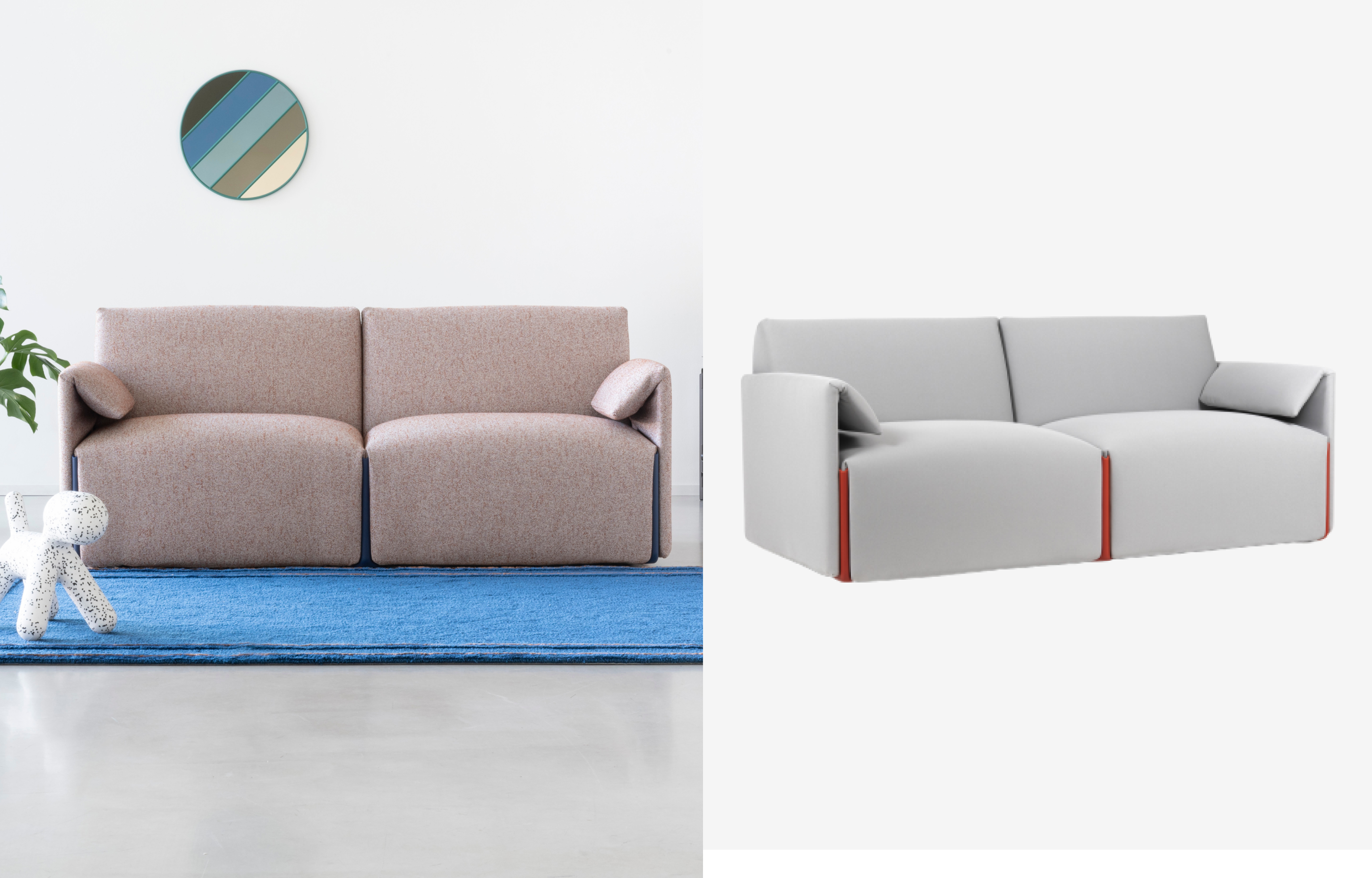 2 Seater Costume Sofa by Magis in grey and rose
