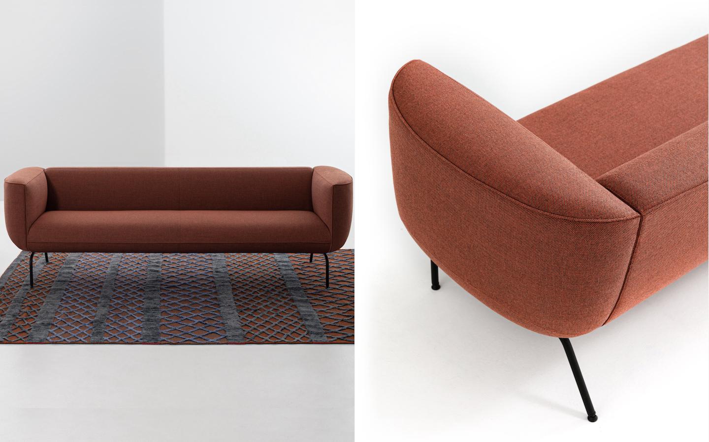 Couchette Sofa by La Cividina in rust red