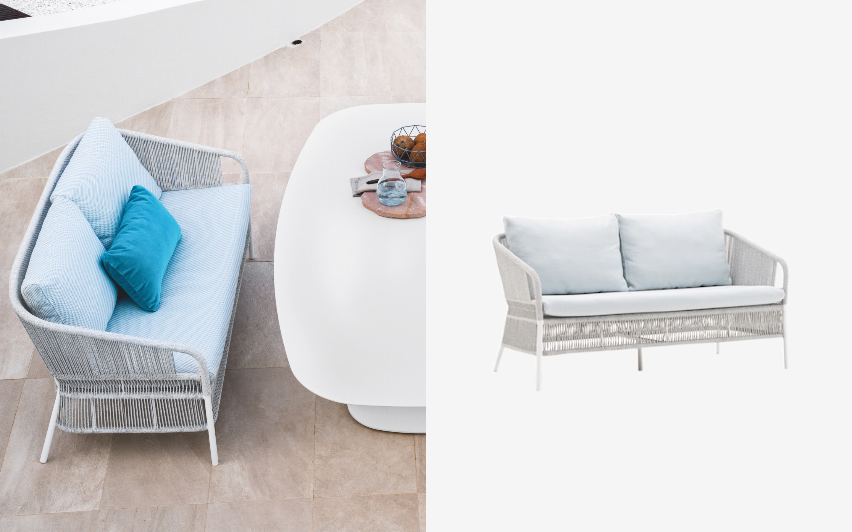 Cricket sofa with light blue seat cushion and backrest