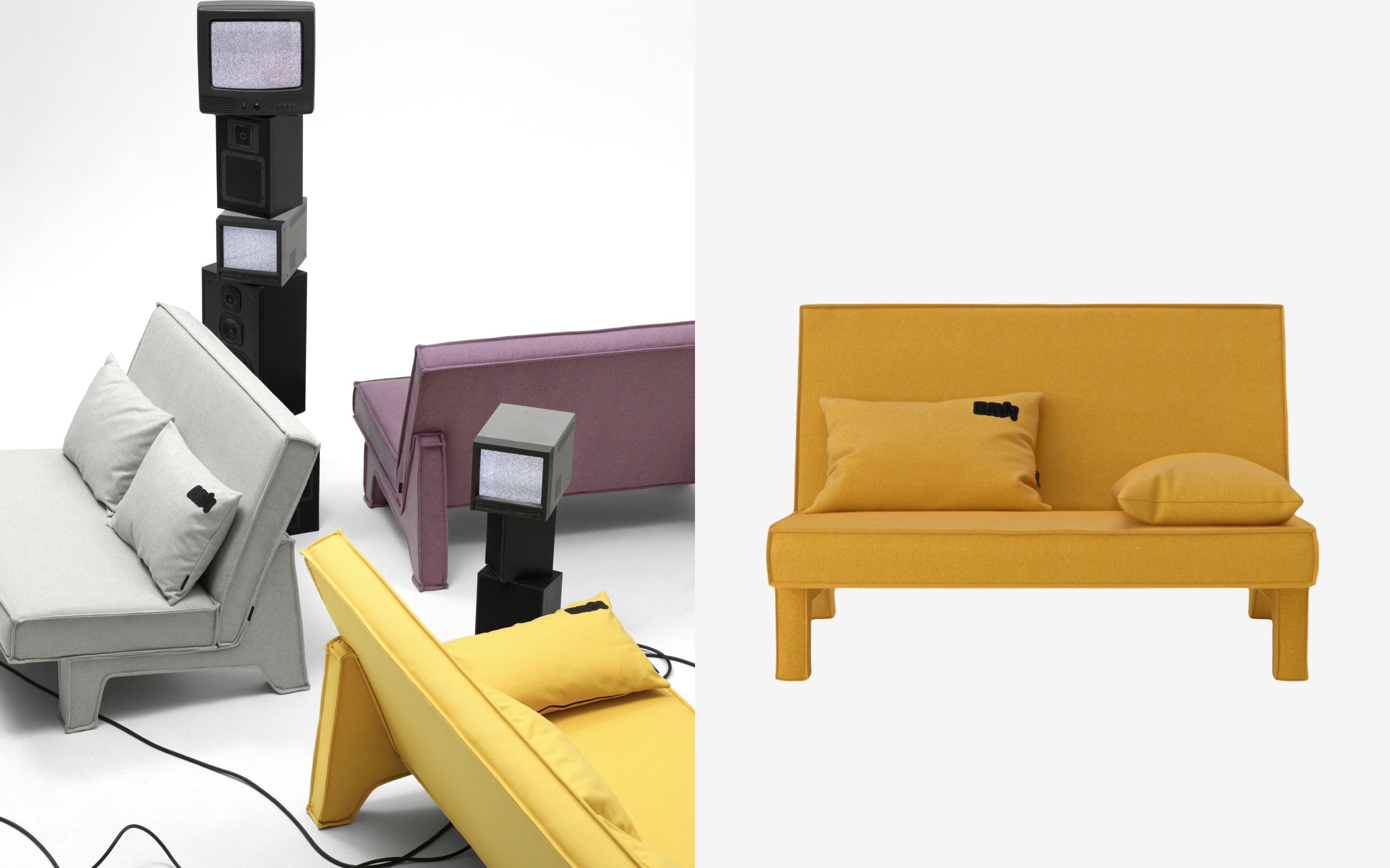 Yellow Two Seater Sofa by Massproductions