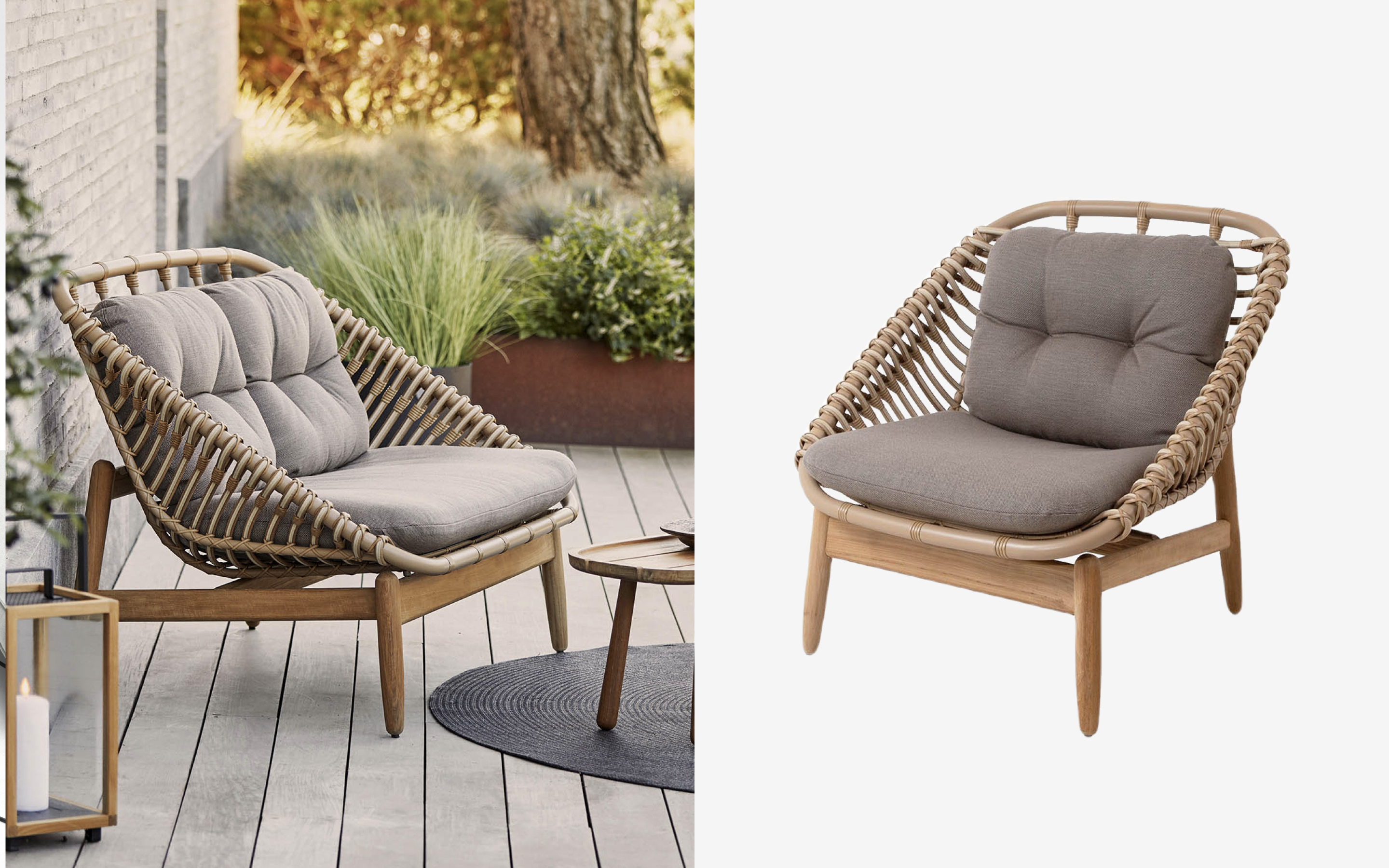 Rattan lounge chair with grey seat and back cushion