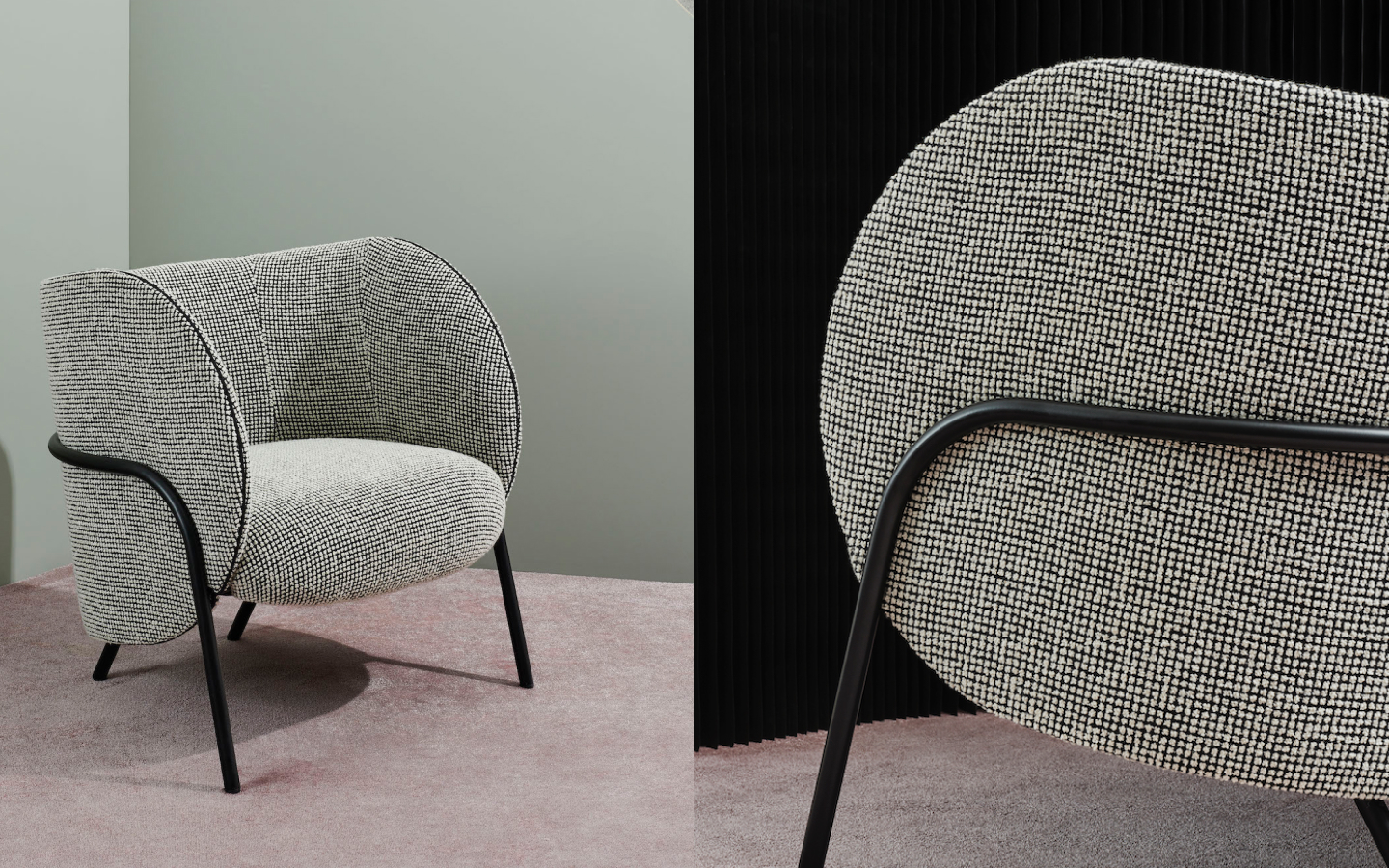 Curved Royce lounge chair with checked upholstery