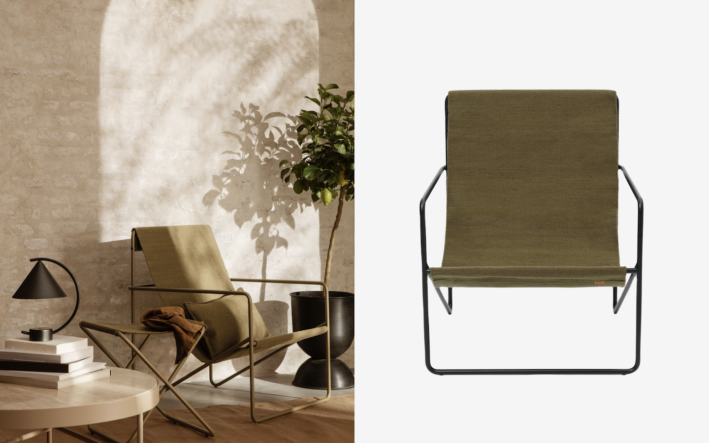Olive green Deser Lounge Chair with canvas seating