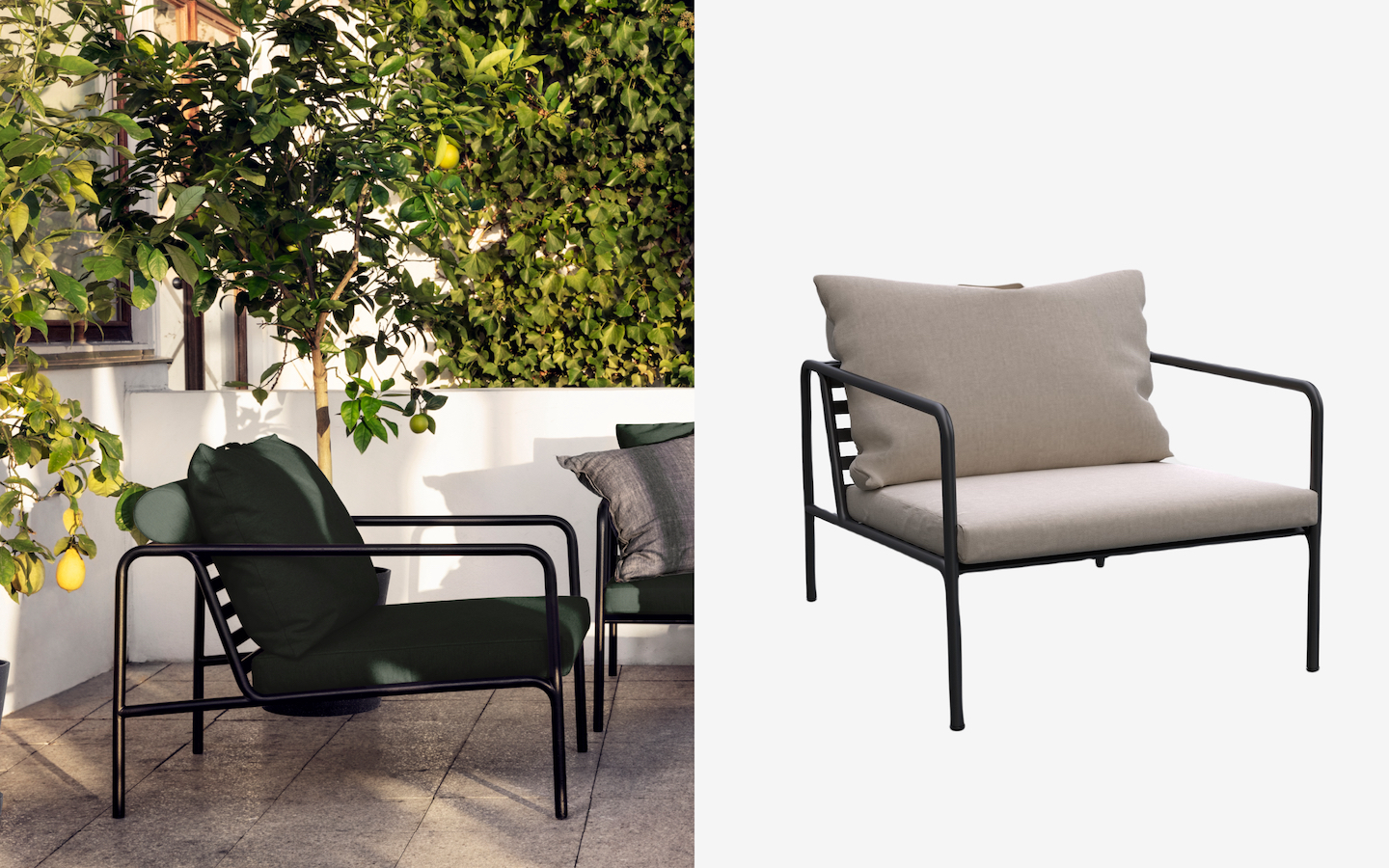 Outdoor metal chair with grey seat and back cushions