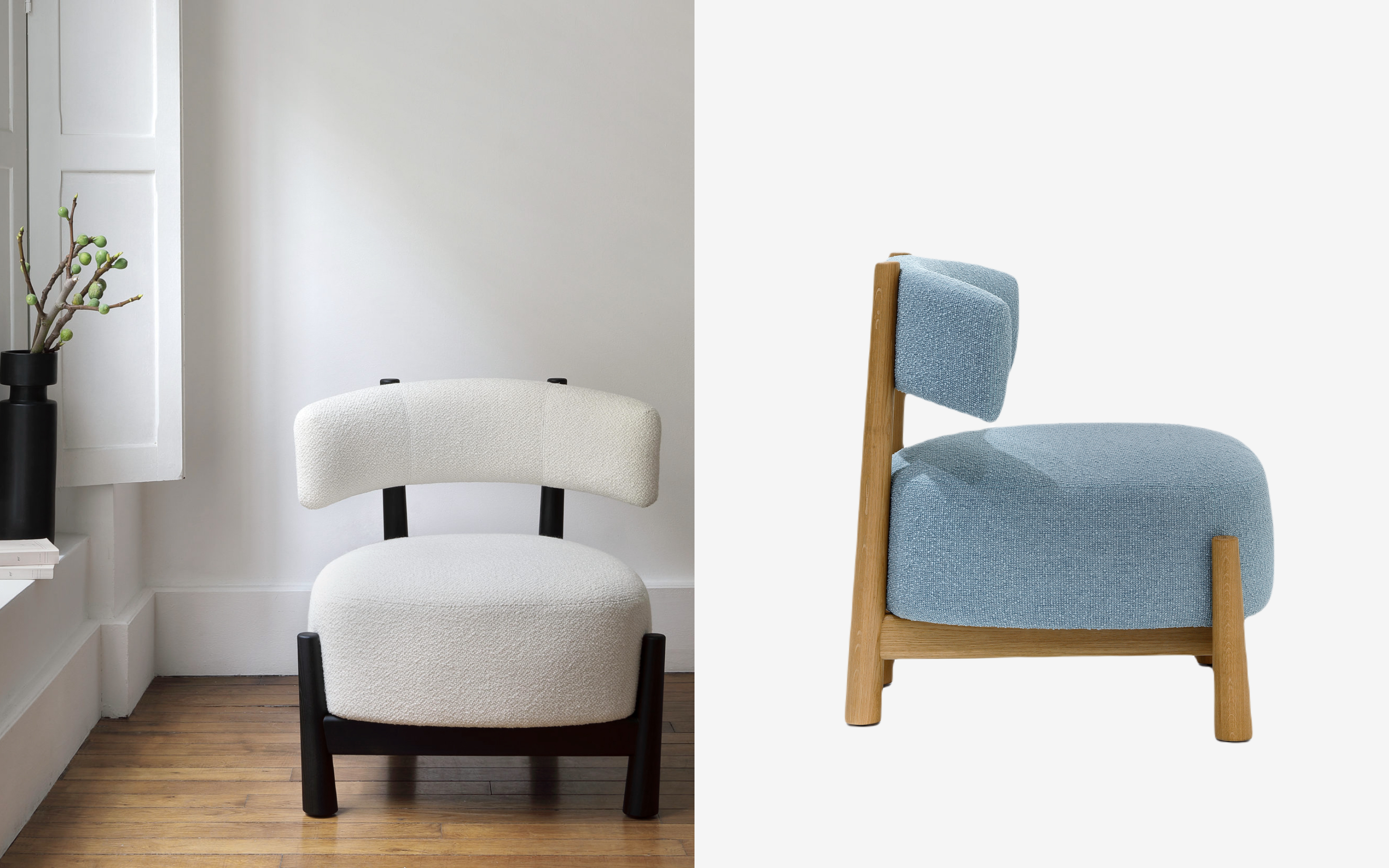 Dalyca lounge chair with curved upholstered backrest in white and blue