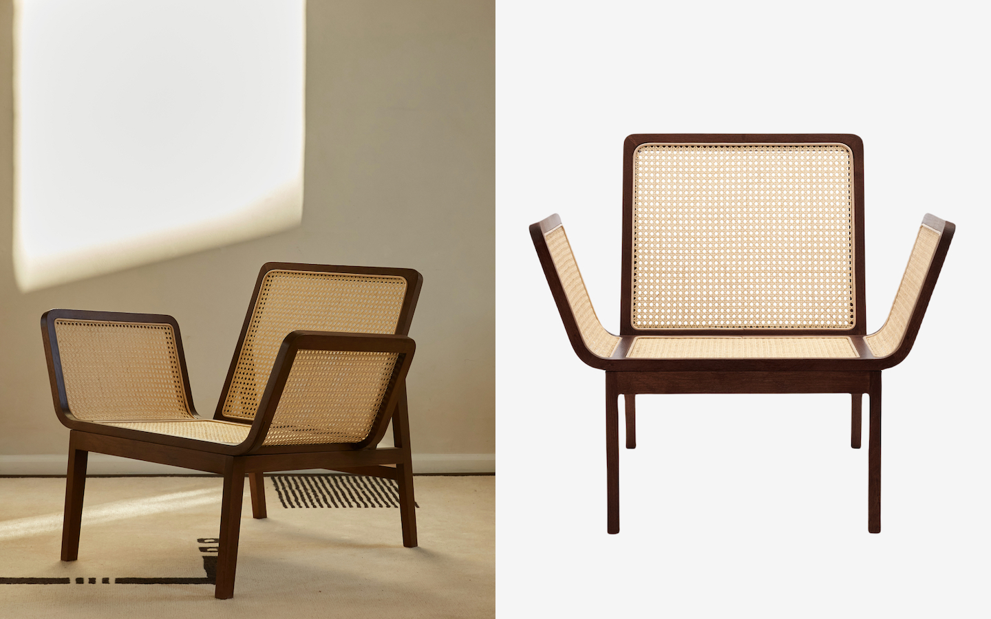 Rattan chair with wing-like seat and armrests