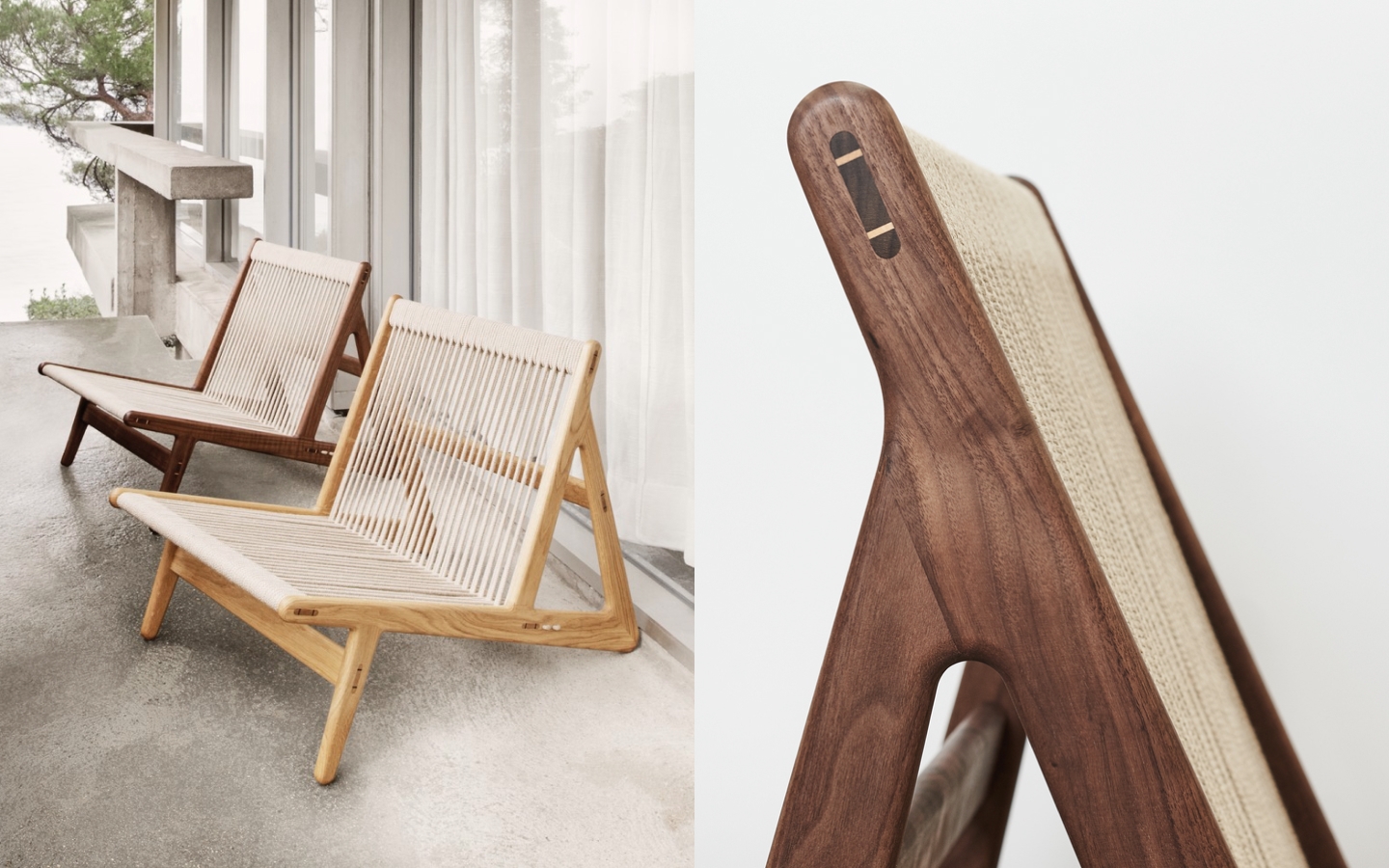 Low lounge chair with rope seat and backrest
